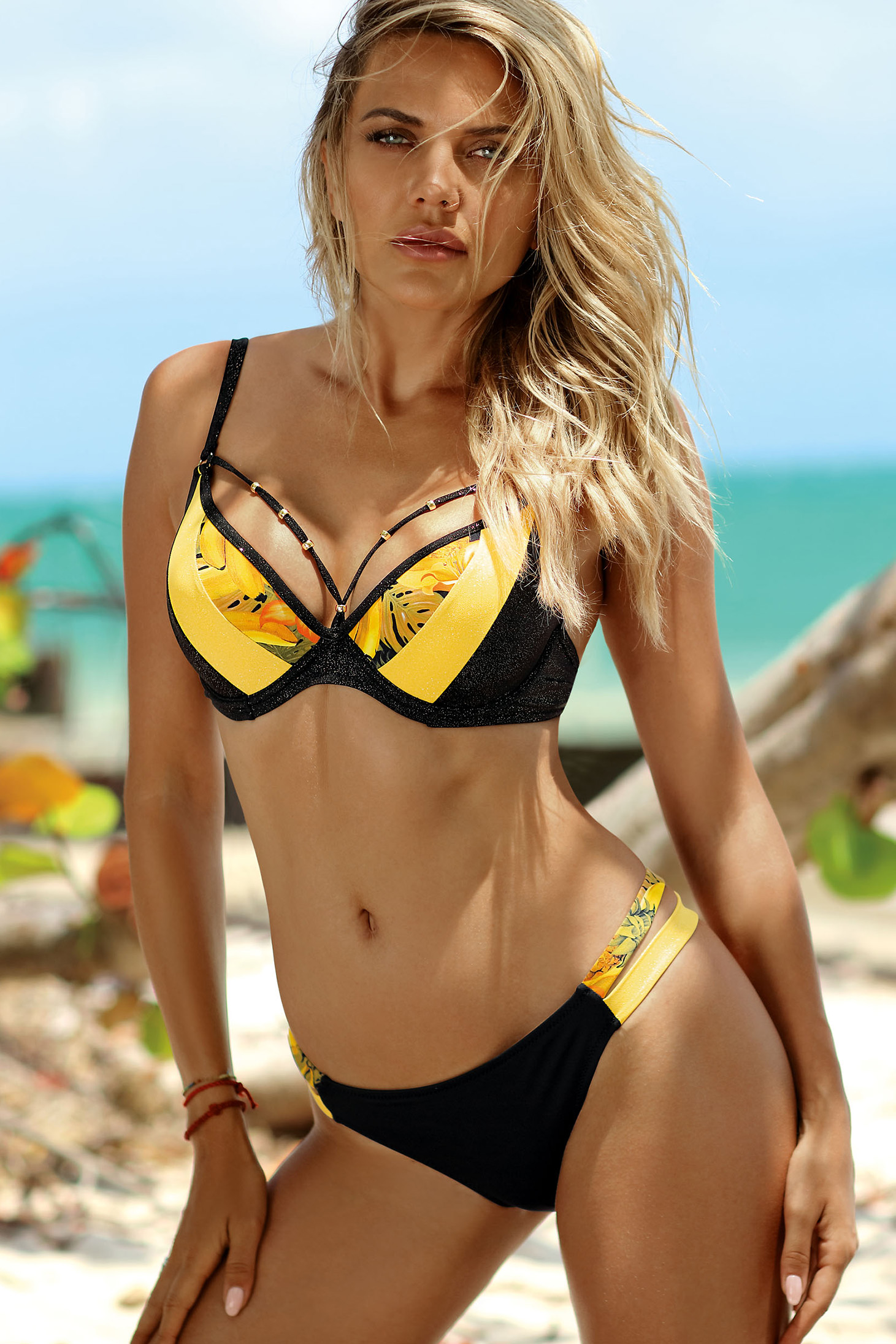 Verbazingwekkend Yellow swimsuit brazilian slip with normal bra with push-up cups DI-03
