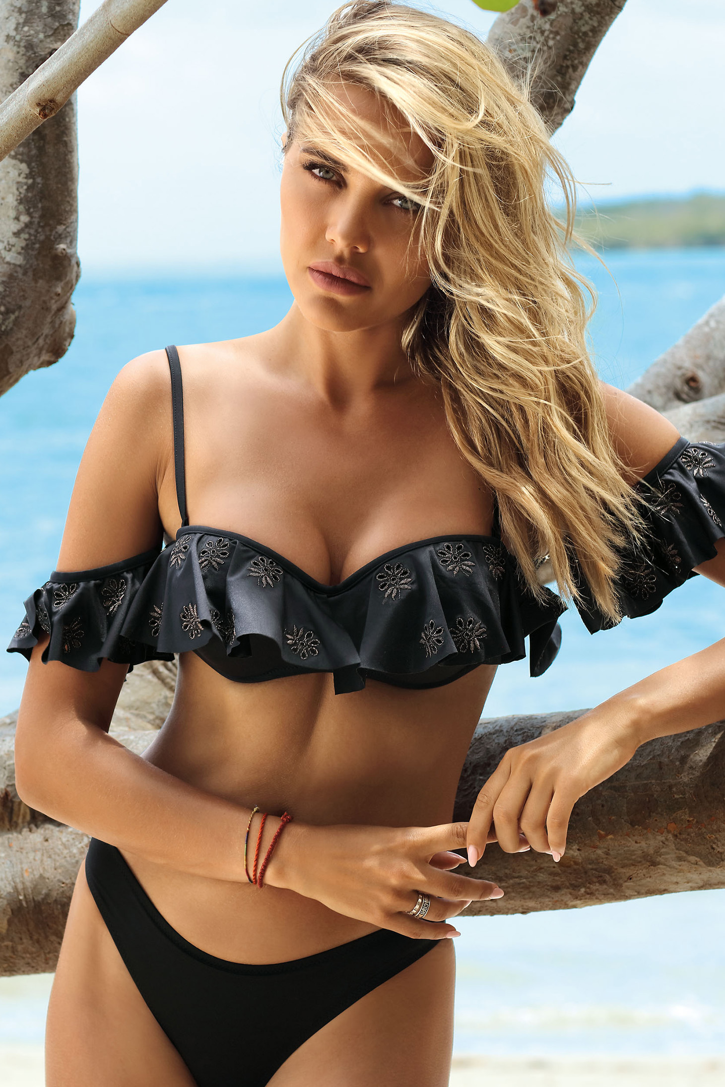Black swimsuit from two pieces frilled with balconette bra with classic bottoms