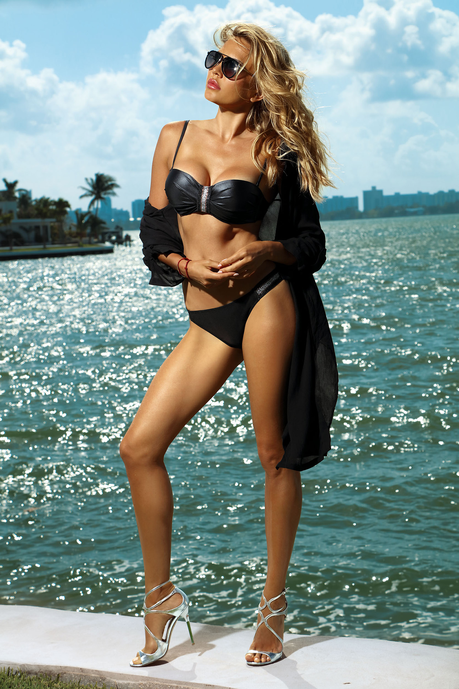 Black swimsuit from two pieces with classical slip with balconette bra adjustable straps