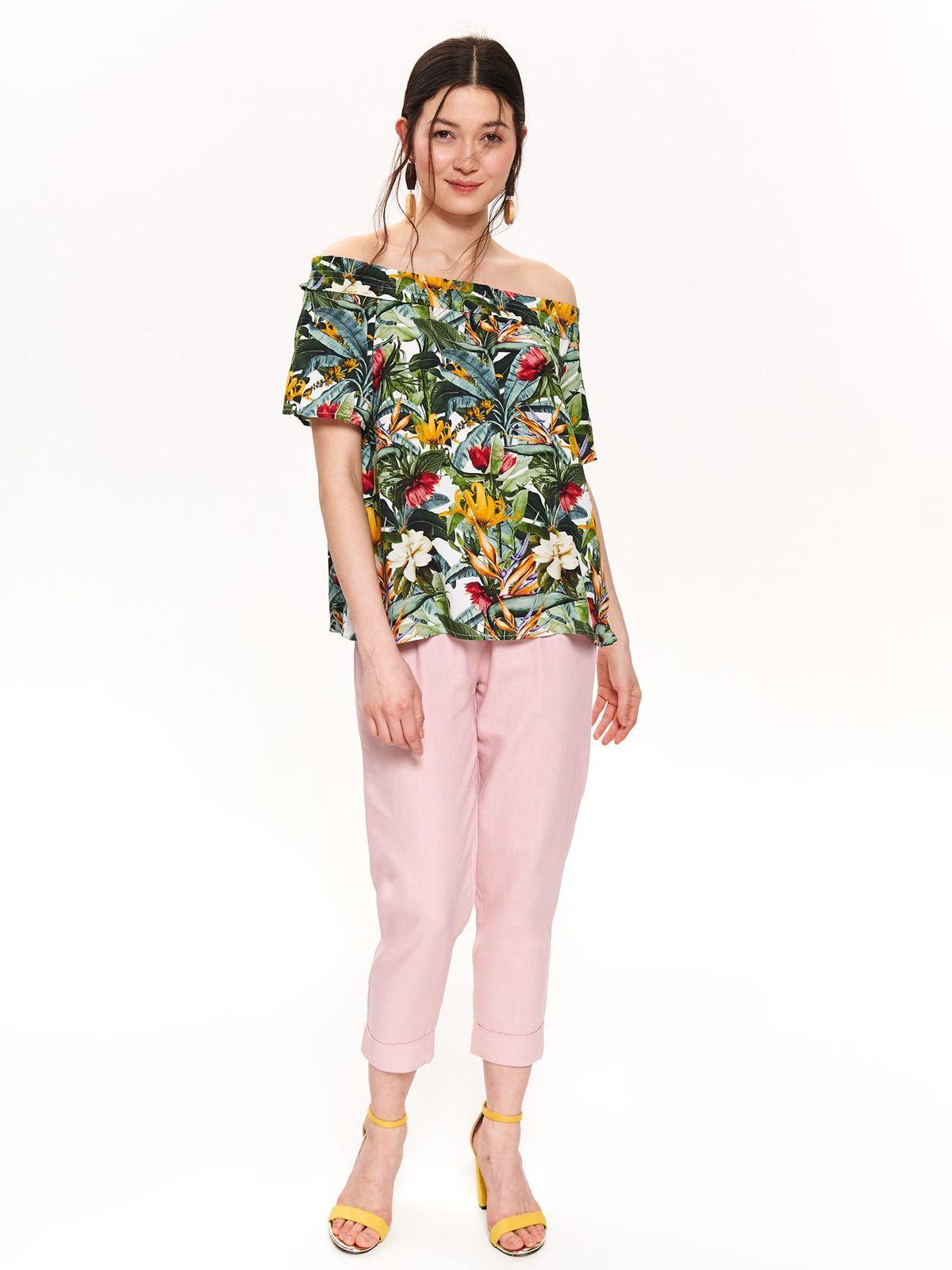 Bluza dama Top Secret verde casual cu umeri goi cu croi larg din material subtire cu imprimeuri florale