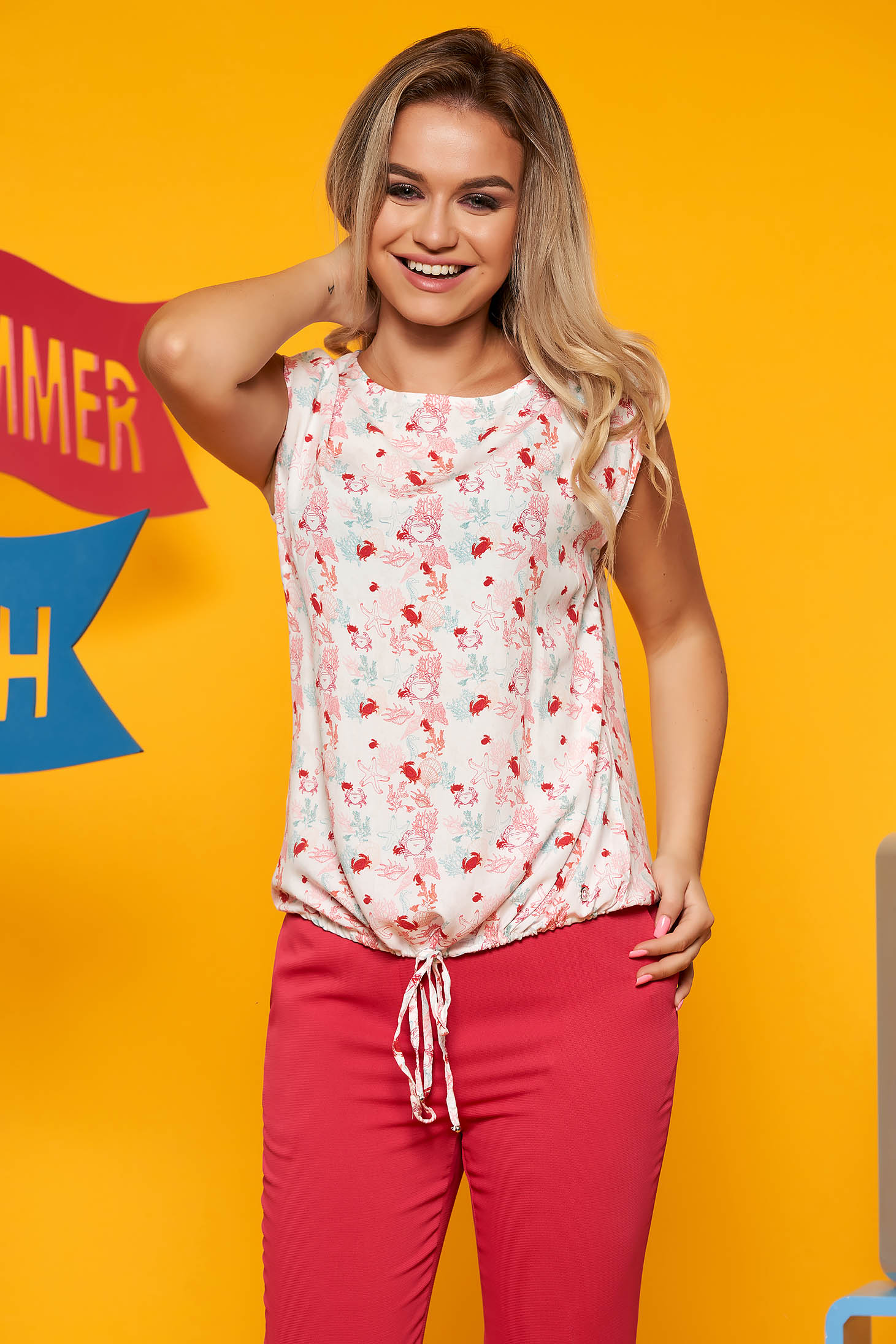 Top Secret white casual flared women`s blouse airy fabric with floral prints is fastened around the waist with a ribbon