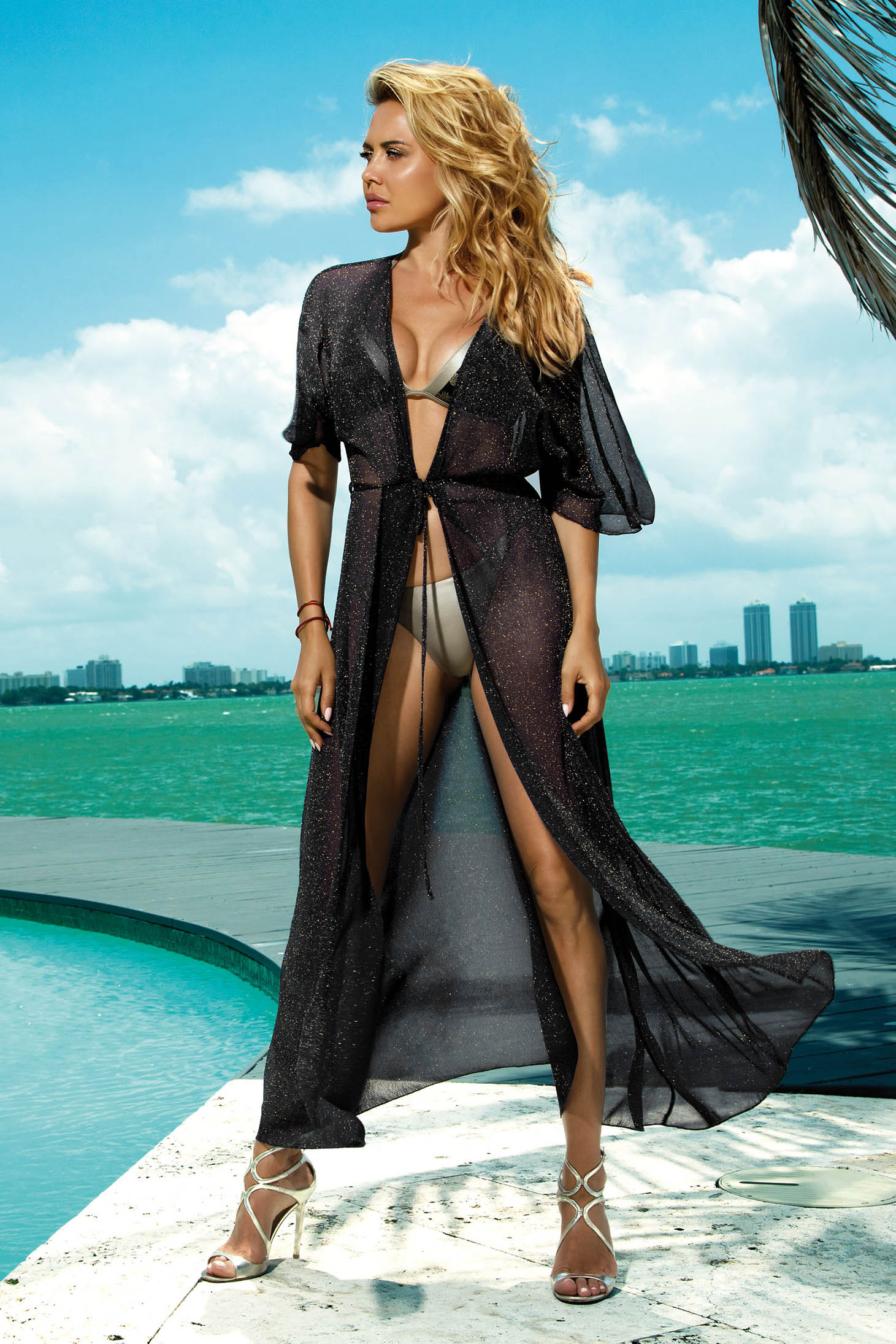 Black long beach wear dress transparent fabric with laced details