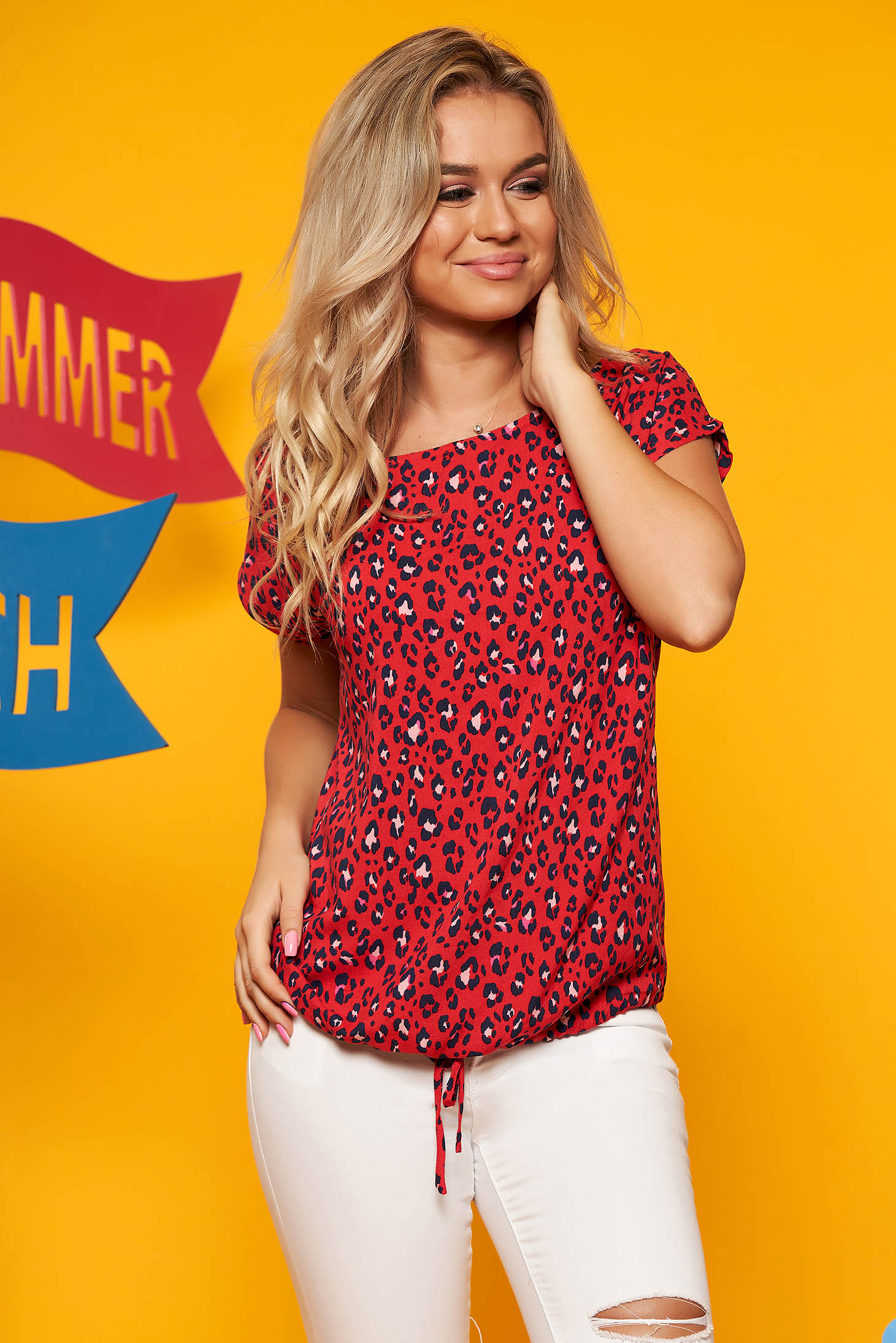 Top Secret red casual flared women`s blouse short sleeve thin fabric animal print