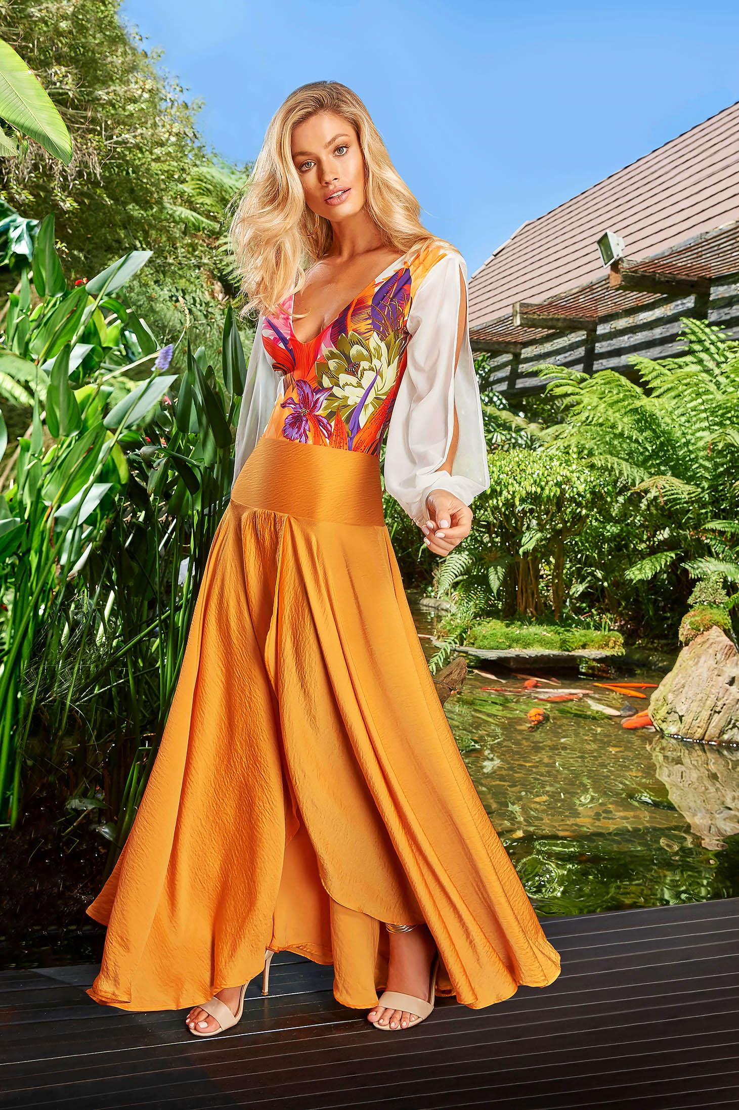 Cosita Linda orange beach wear asymmetrical cloche skirt high waisted