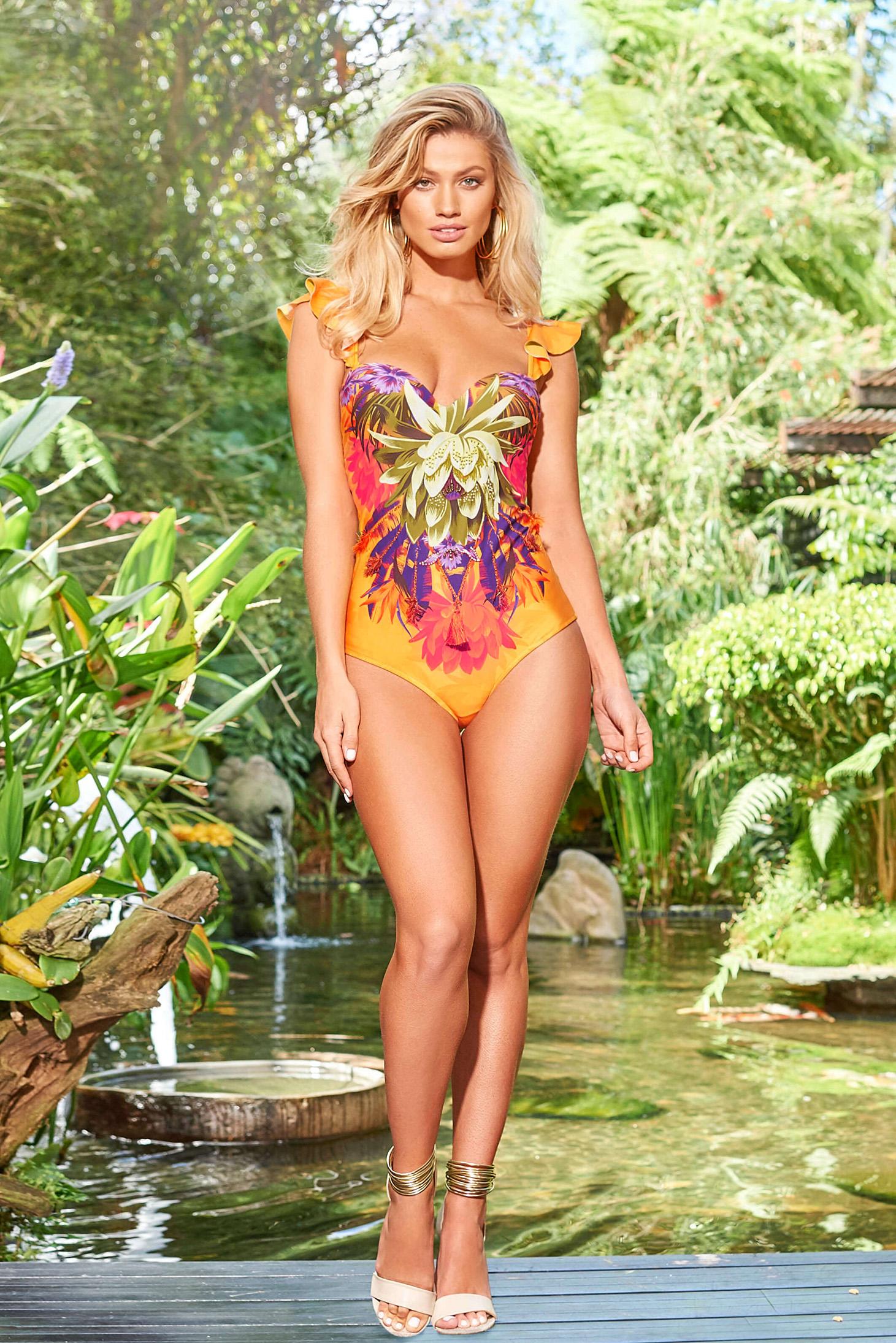 Cosita Linda orange luxurious altogether swimsuit frilled bare back