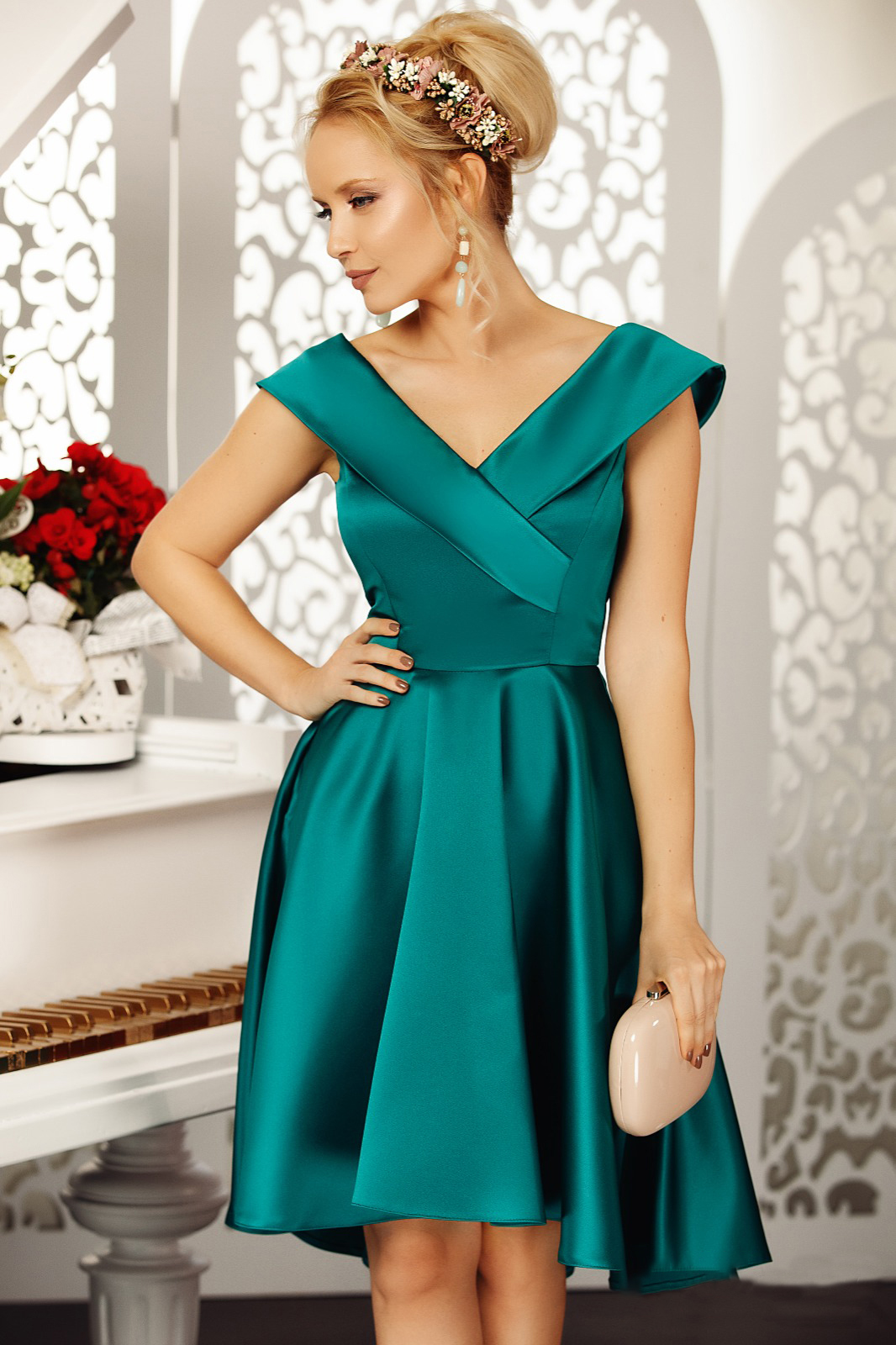 Fofy darkgreen occasional asymmetrical cloche dress off shoulder from satin fabric texture