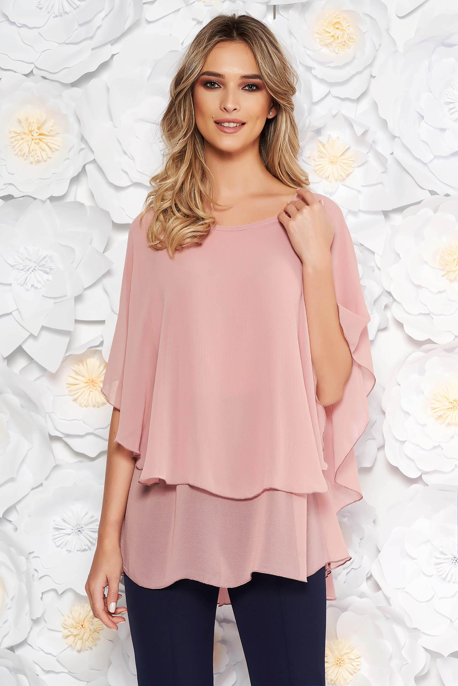 Bluza dama roz deschis eleganta asimetrica cu croi larg din voal