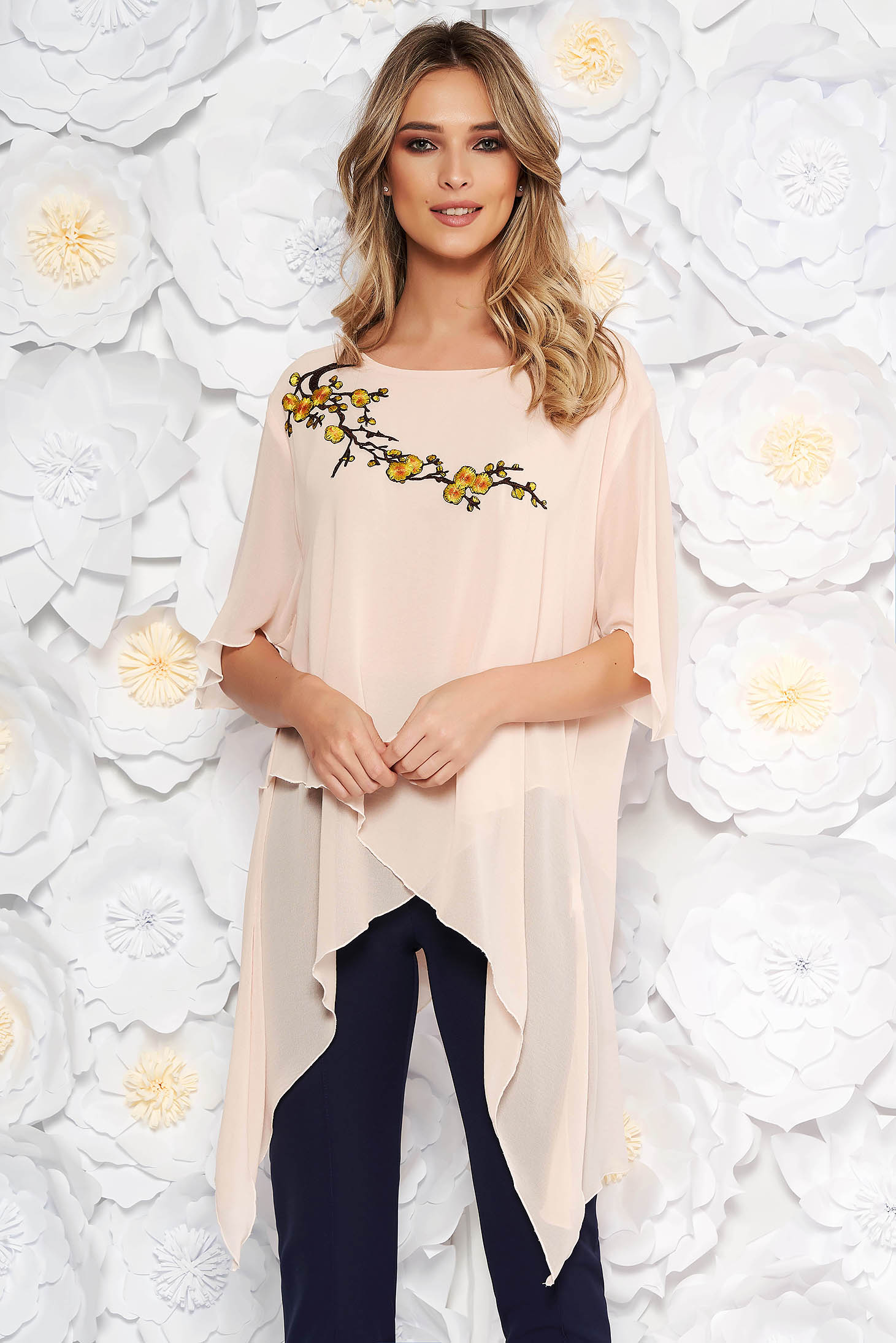 Rosa elegant flared women`s blouse asymmetrical from veil fabric front embroidery