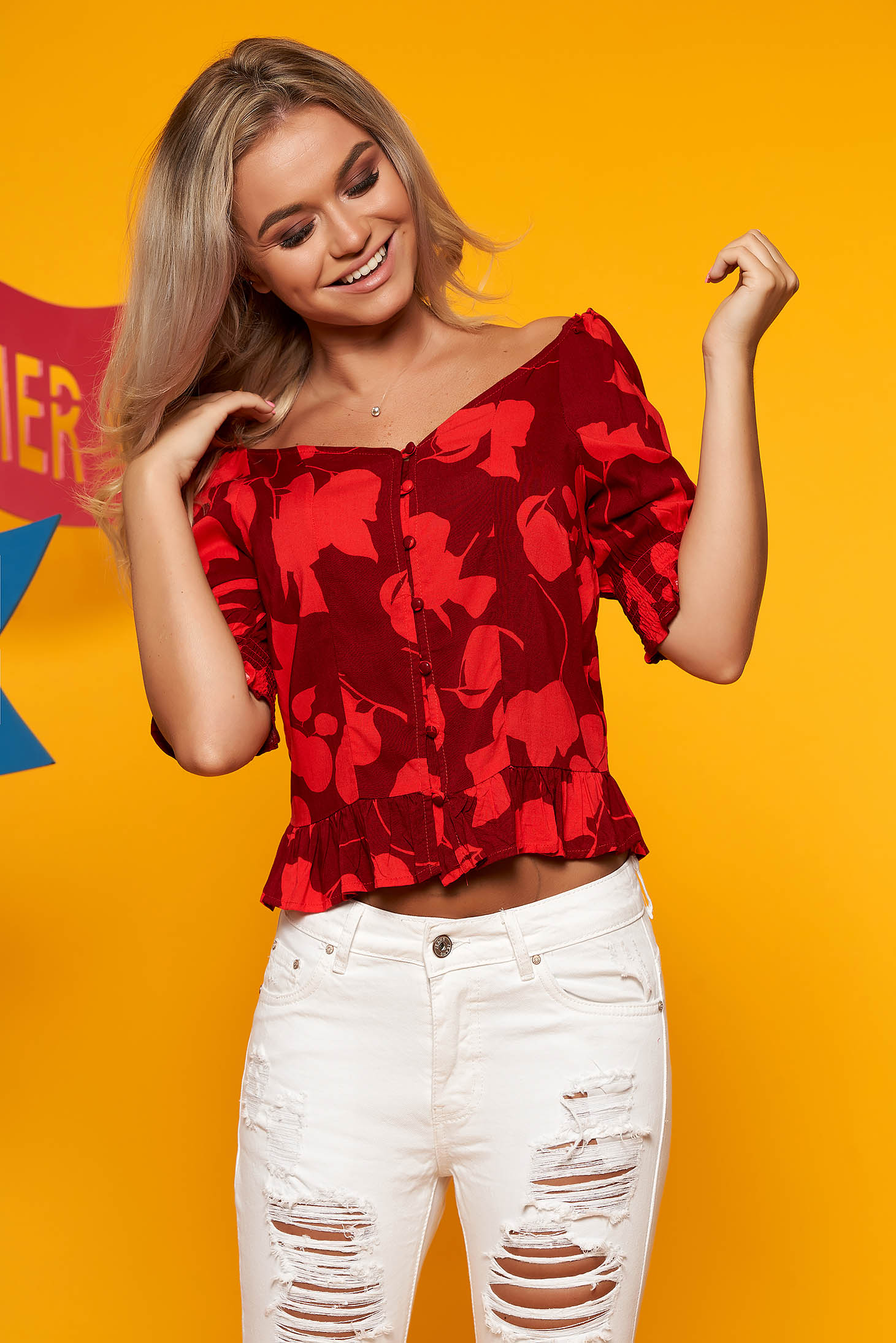Bluza dama Top Secret rosie casual cu decolteu din material vaporos cu imprimeu floral