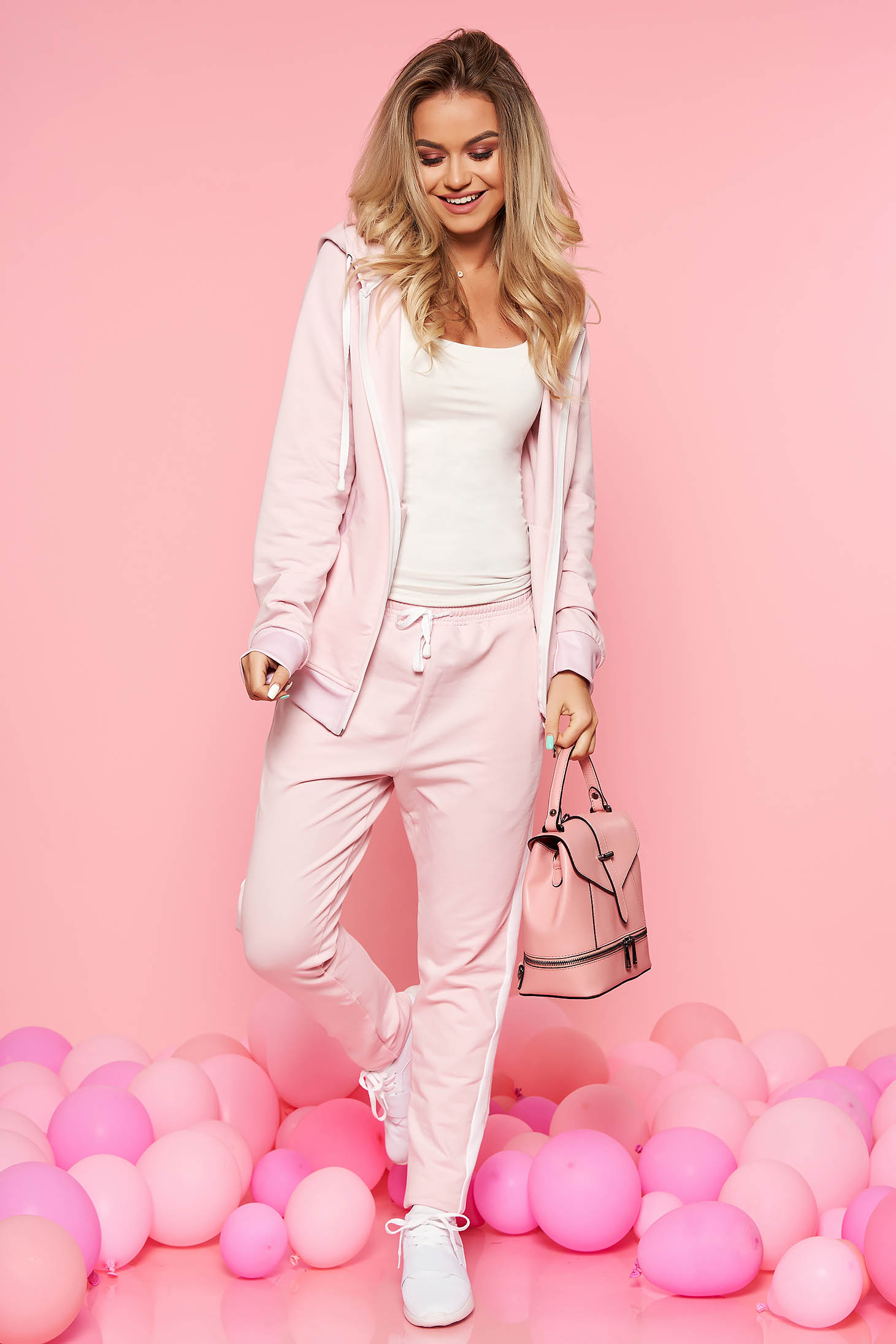 Set SunShine roz deschis casual din 2 piese cu pantaloni din bumbac usor elastic
