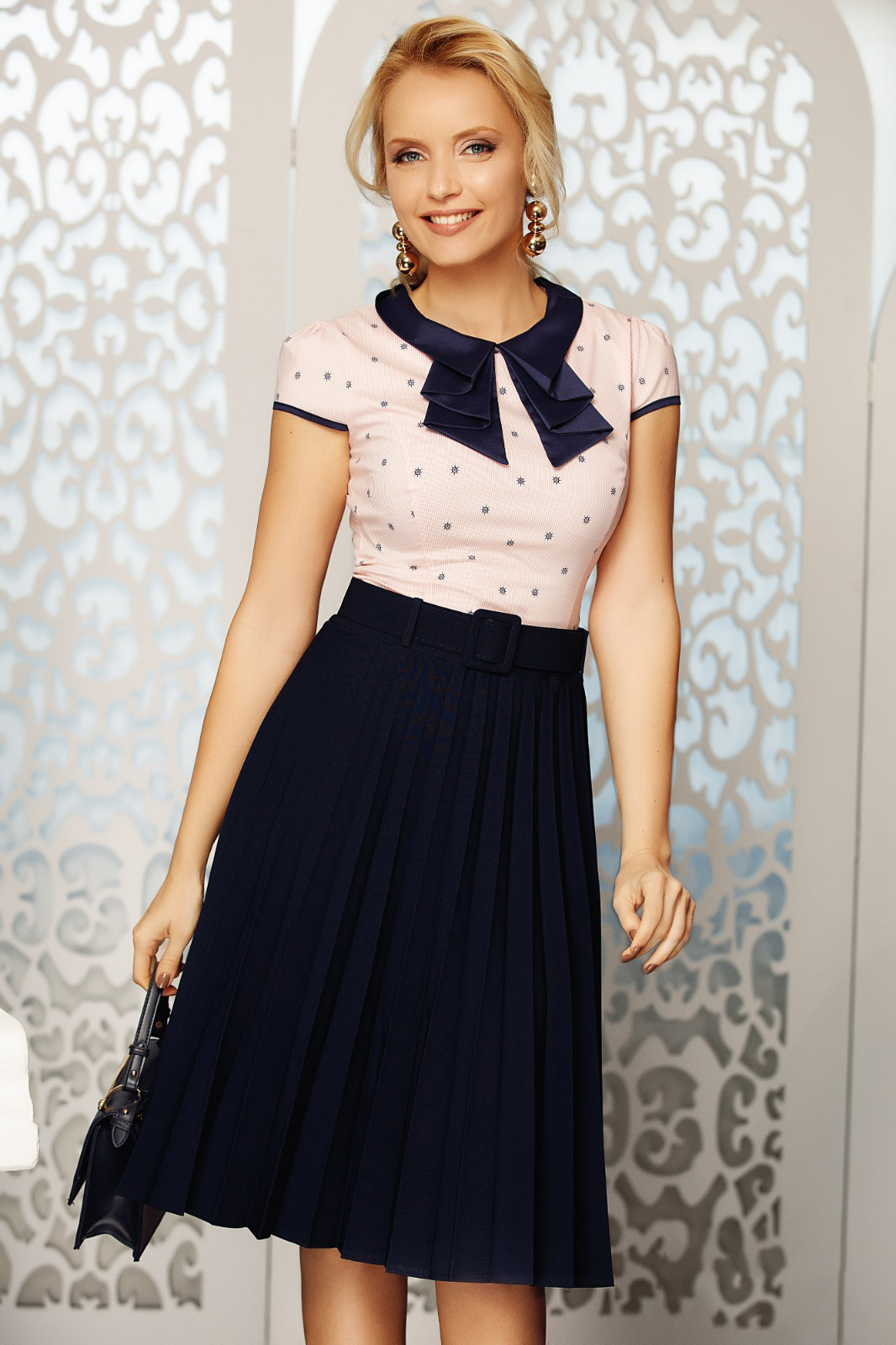 Fofy darkblue elegant folded up cloche skirt high waisted accessorized with belt slightly elastic fabric