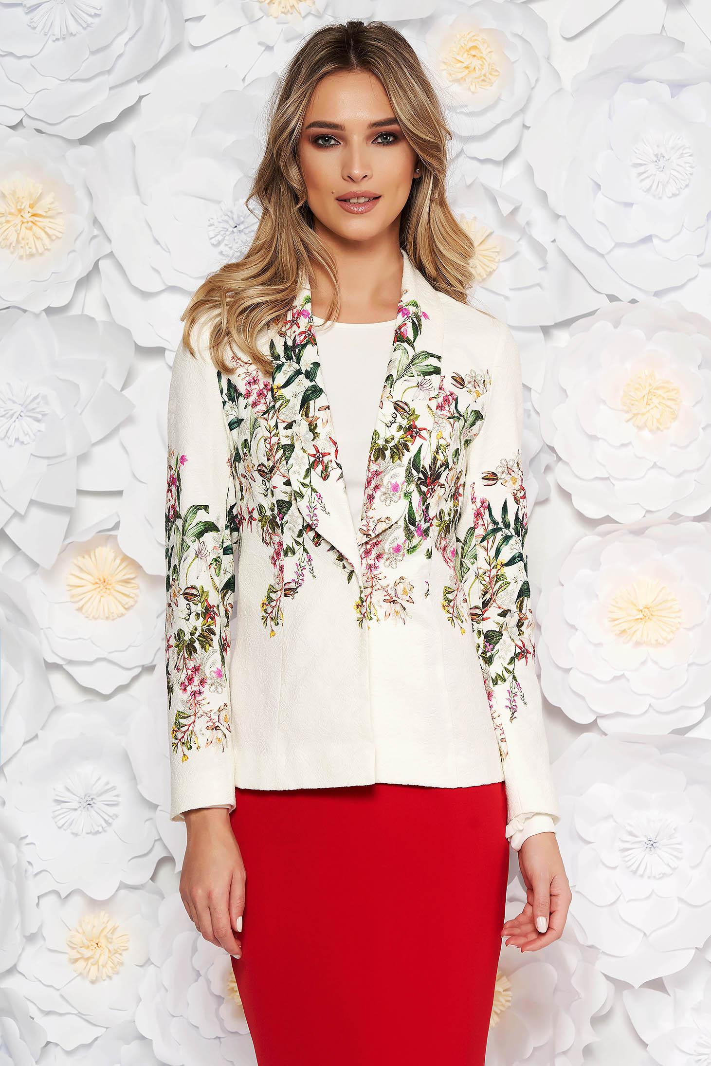 White elegant blazer cotton jacket without clothing raised pattern