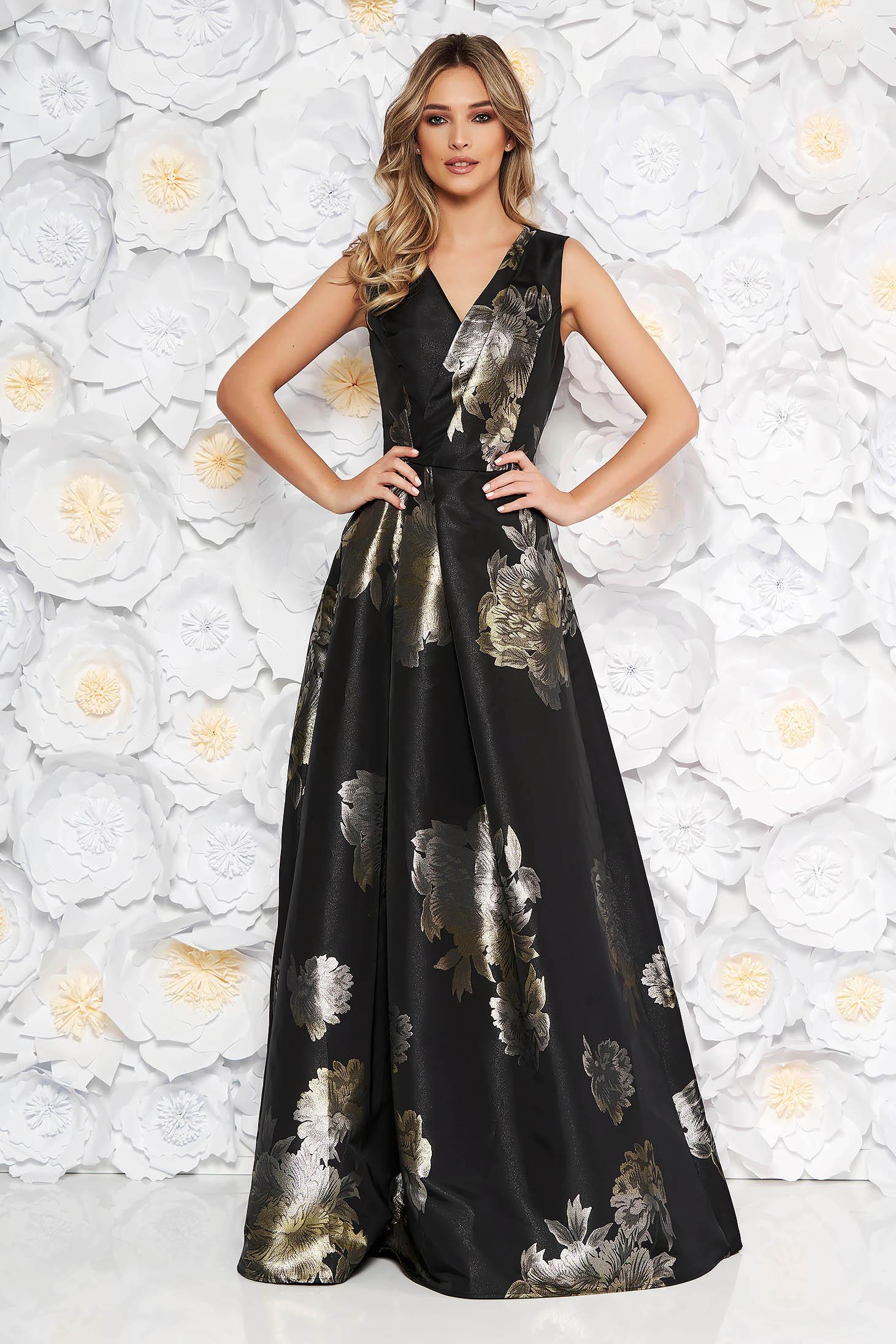 944712f302 Fekete Artista alkalmi harang ruha v-dekoltázzsal virágmintás