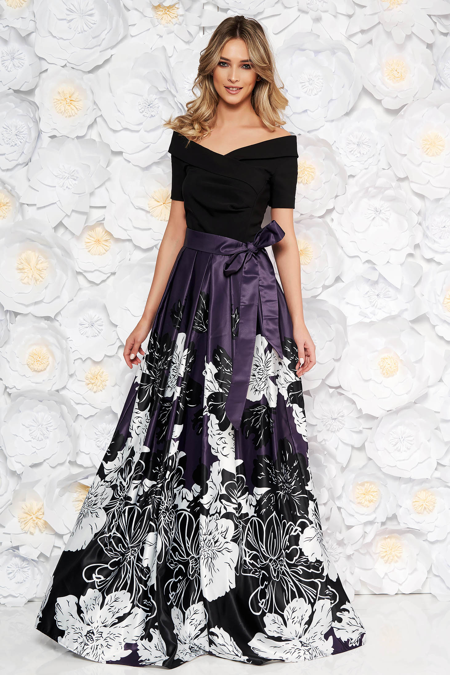 Artista purple occasional cloche dress from satin fabric texture with inside lining off shoulder