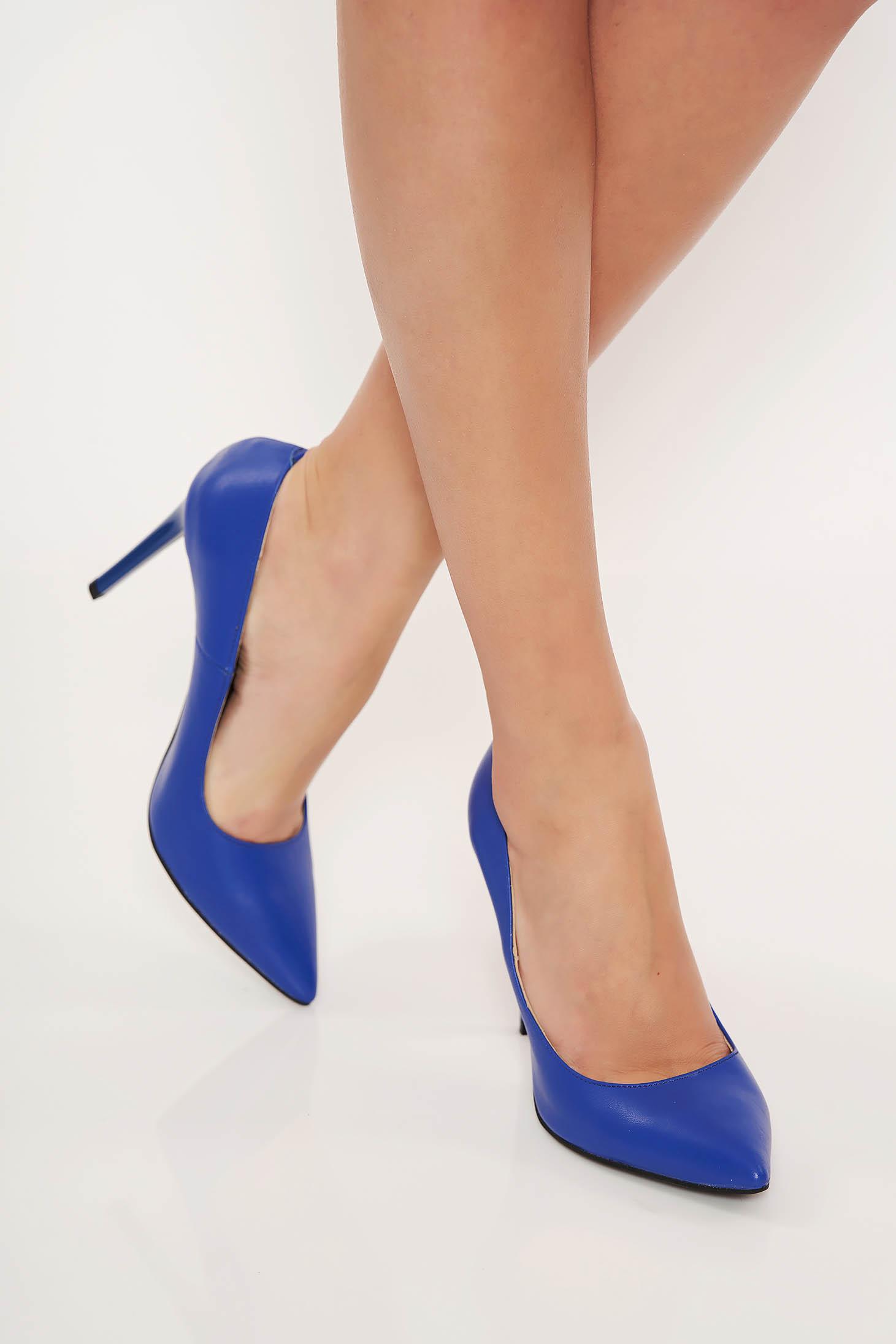 Pantofi albastru stiletto office din piele naturala cu varful usor ascutit