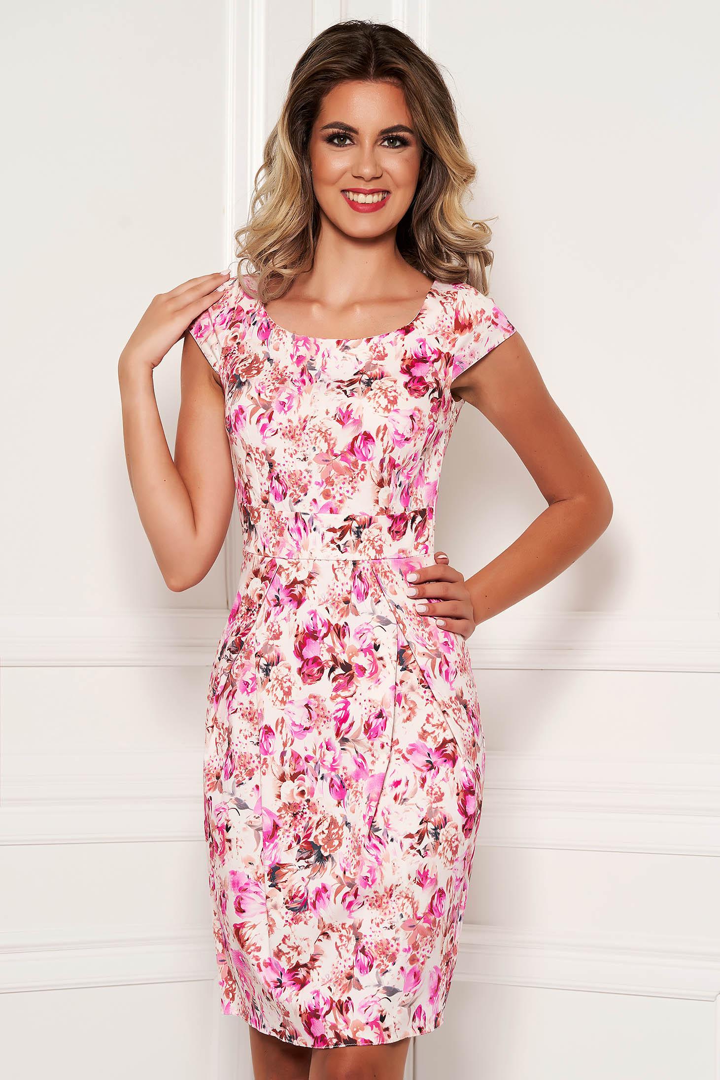 Rochie roz eleganta midi tip creion din bumbac cu maneca scurta si imprimeuri florale