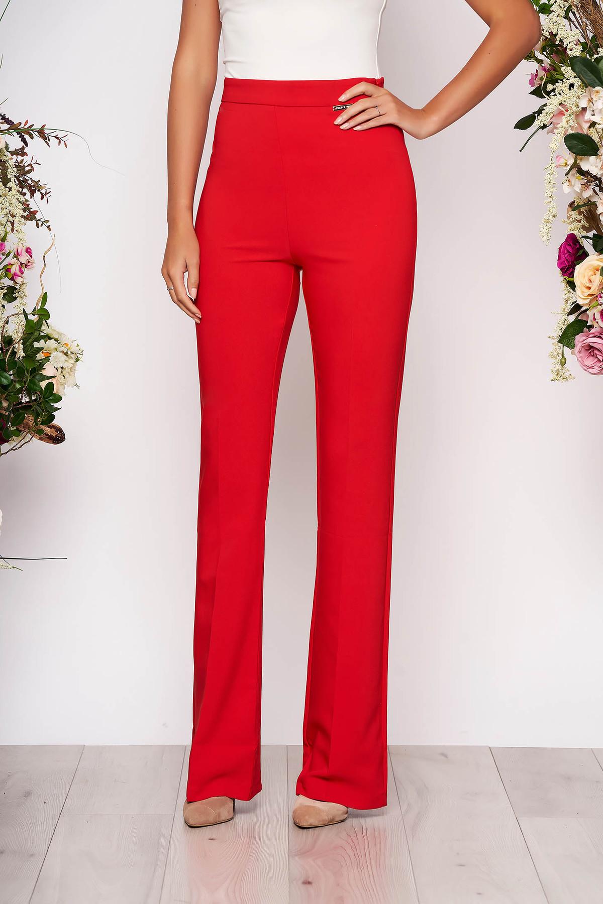 Pantaloni PrettyGirl rosii eleganti evazati cu talie inalta din material neelastic