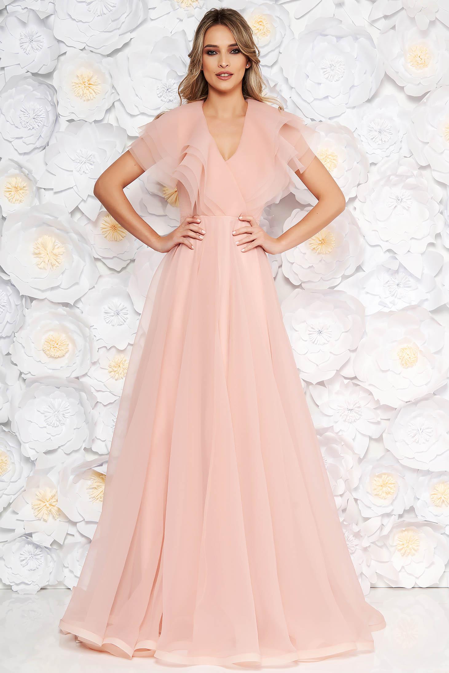 Ana Radu rosa occasional cloche dress with v-neckline frilly trim around cleavage line