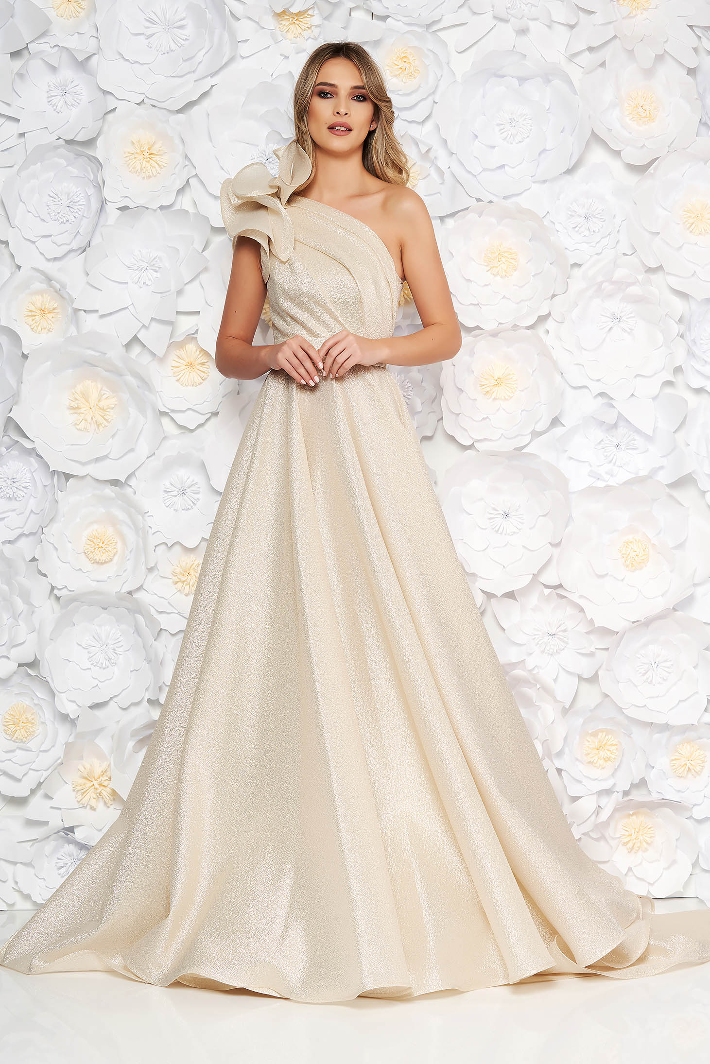 Ana Radu gold luxurious cloche dress nonelastic fabric with metallic aspect with inside lining with ruffle details