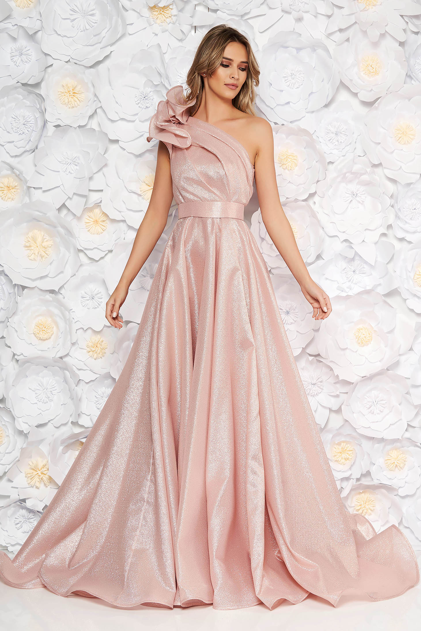 Ana Radu rosa luxurious cloche dress nonelastic fabric with metallic aspect with inside lining with ruffle details