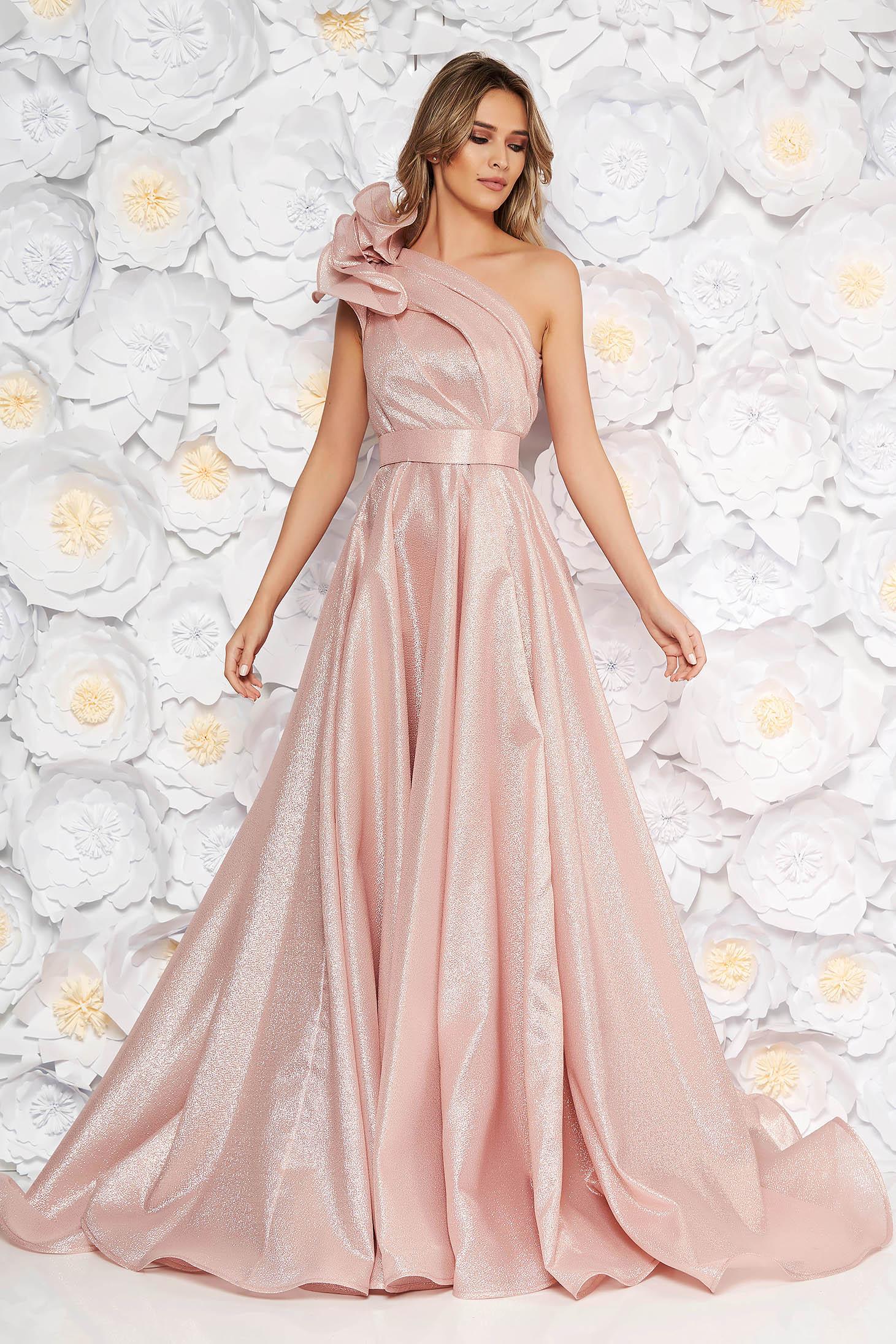 5918e744e6 Rózsaszínű Ana Radu harang ruha nem rugalmas anyag fémes jelleg belső  béléssel fodros