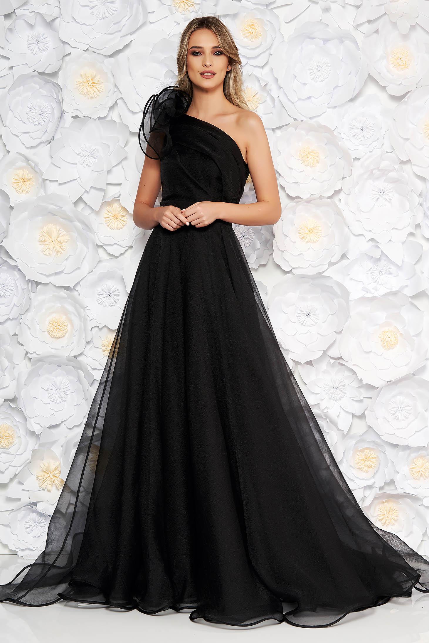 Ana Radu black luxurious dress with inside lining accessorized with tied waistband one shoulder