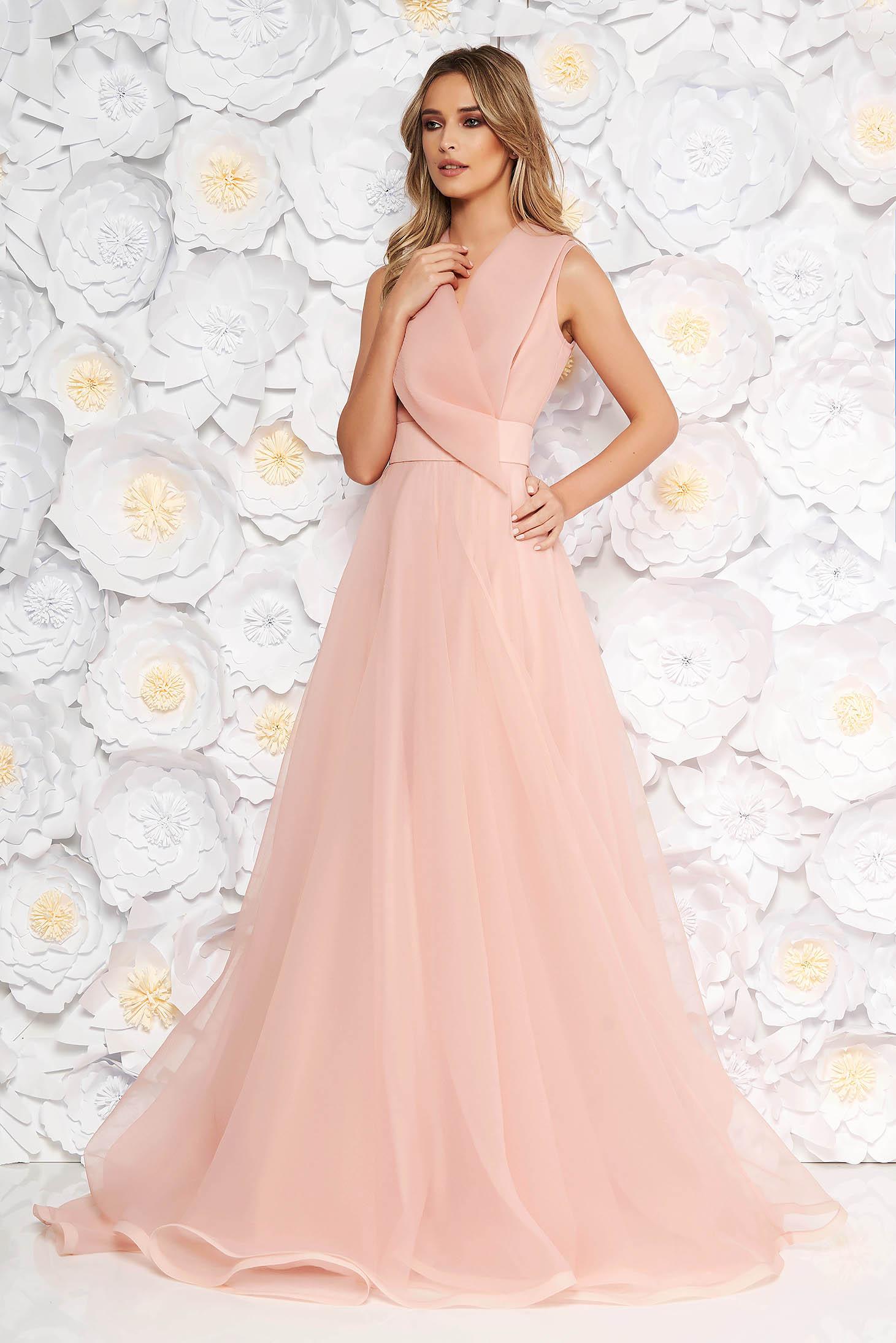 4570e7fb93 Rózsaszínű Ana Radu alkalmi hosszú harang ruha v-dekoltázzsal ujj nélküli