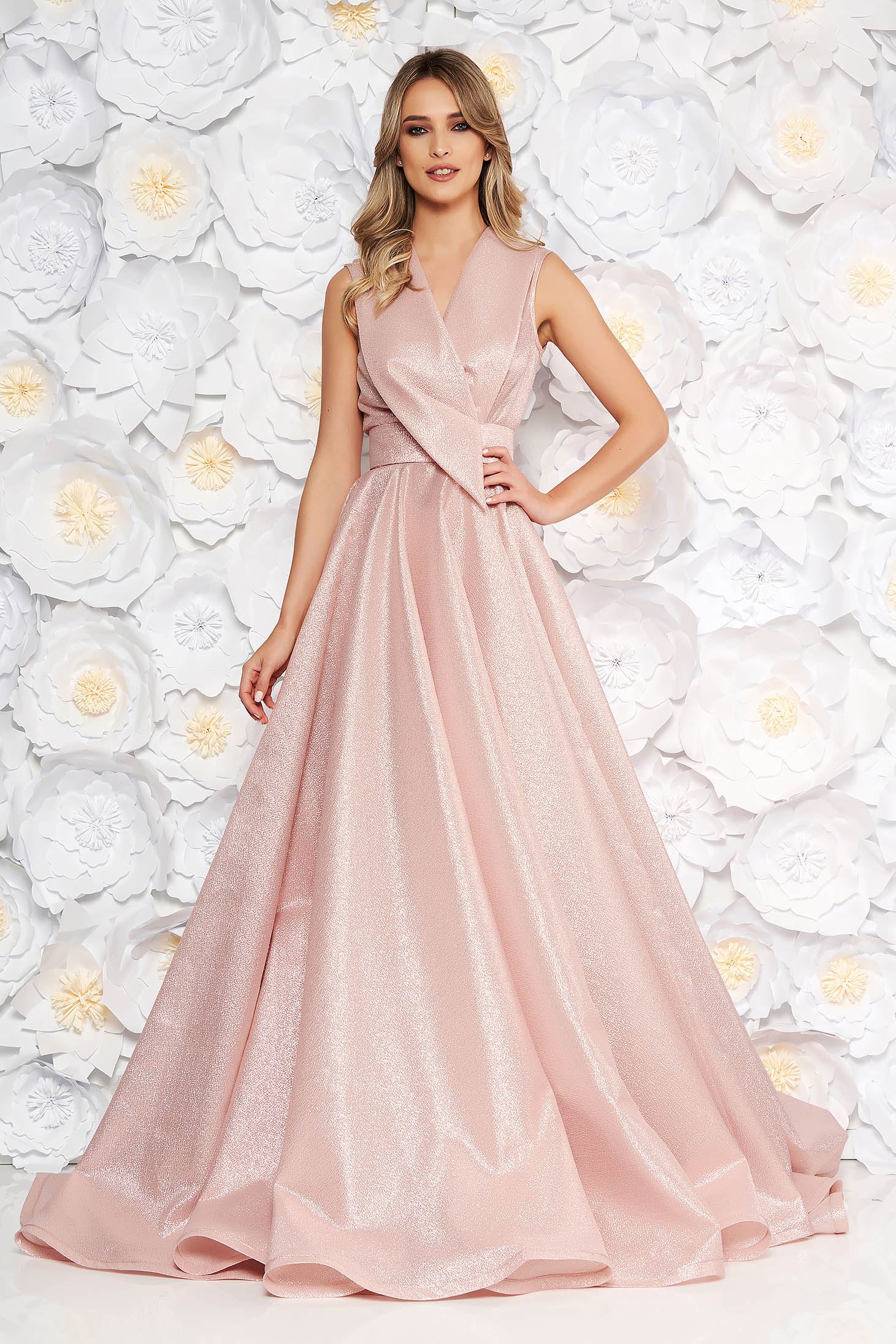 Ana Radu rosa occasional long cloche dress with v-neckline