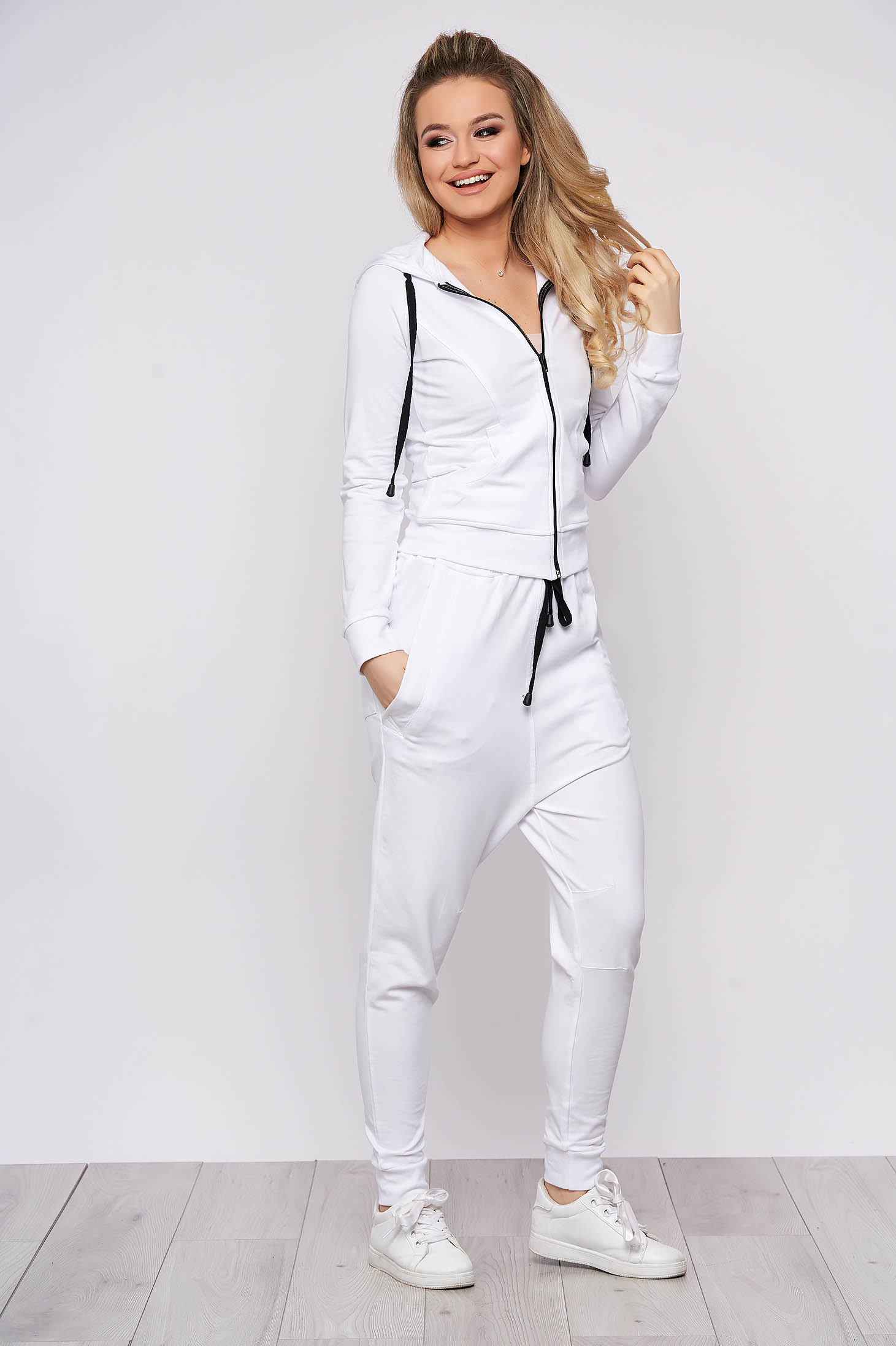 SunShine white casual set from 2 pieces slightly elastic cotton