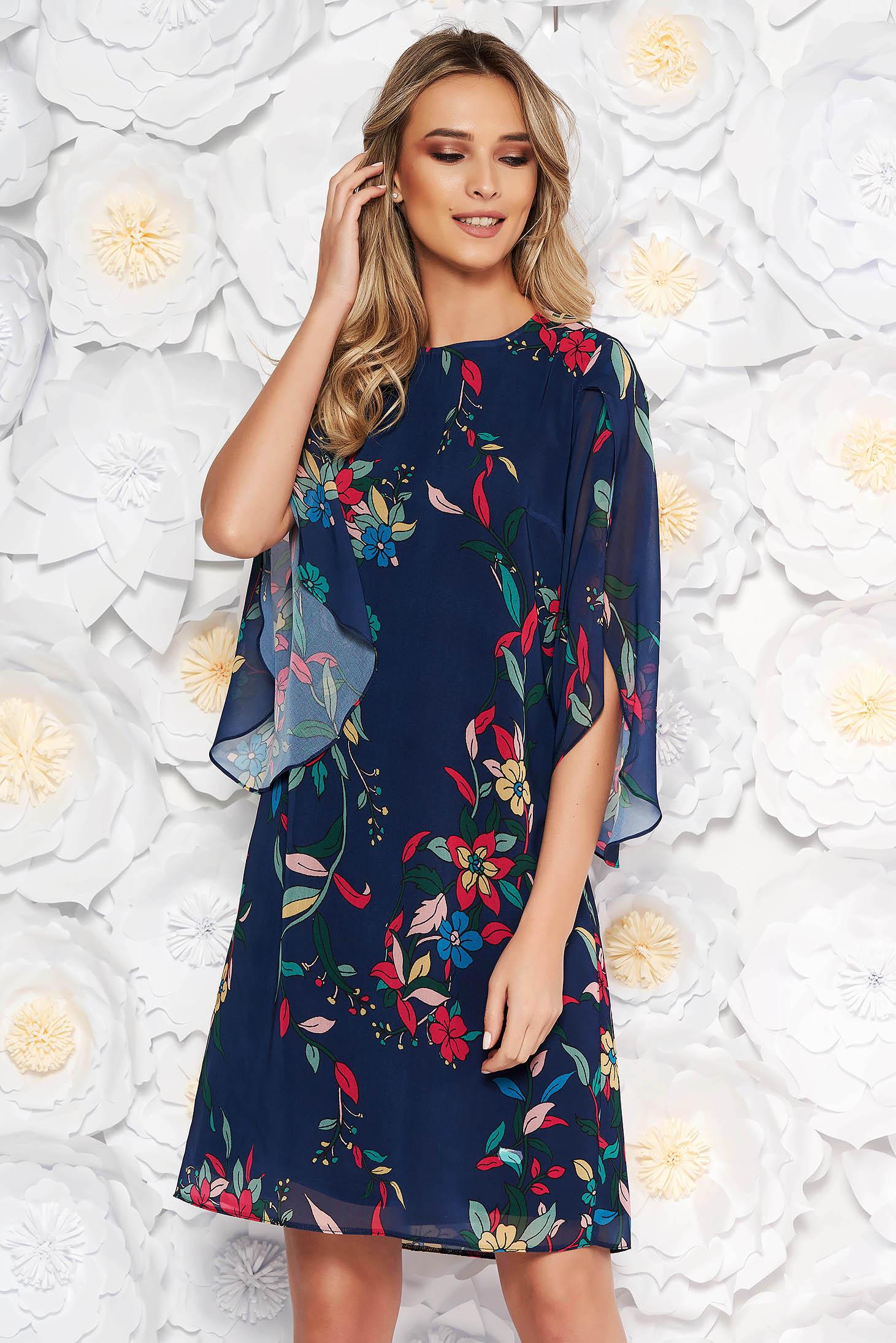 Rochie albastra-inchis eleganta cu croi larg cu maneca 3/4 din voal cu imprimeuri florale