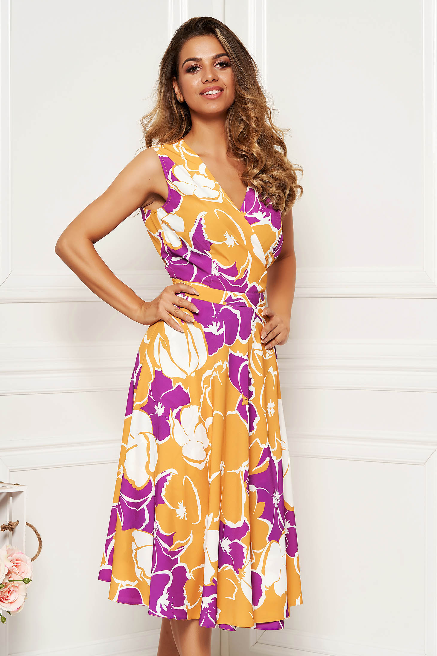 Mustard daily cloche dress with v-neckline soft fabric with floral prints