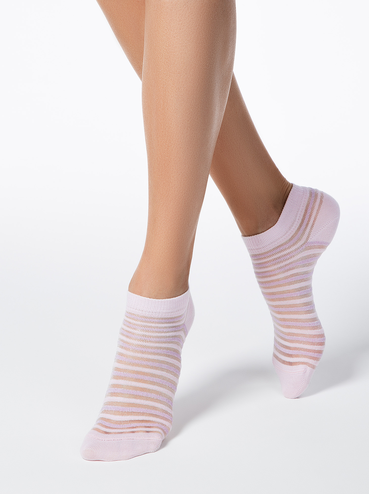 Sosete rosa din bumbac elastic cu calcai curbat