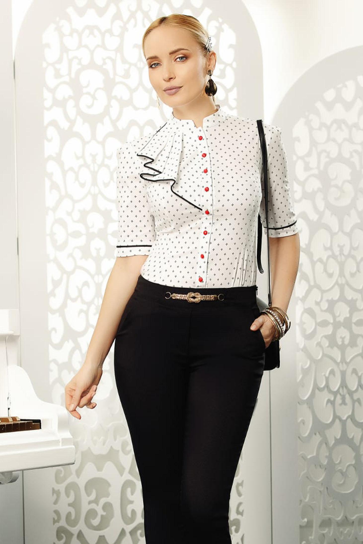 Fofy white elegant women`s shirt short sleeve arched cut slightly elastic cotton