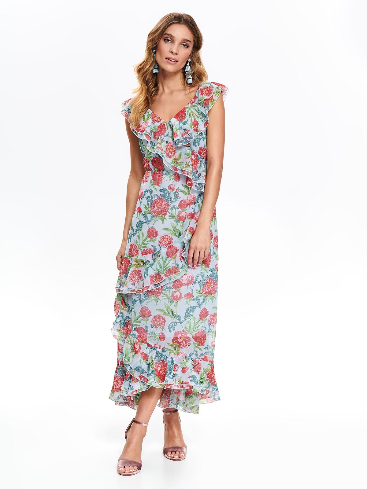 Rochie Top Secret albastra de zi cu volanase croi in clos din material subtire cu imprimeuri florale