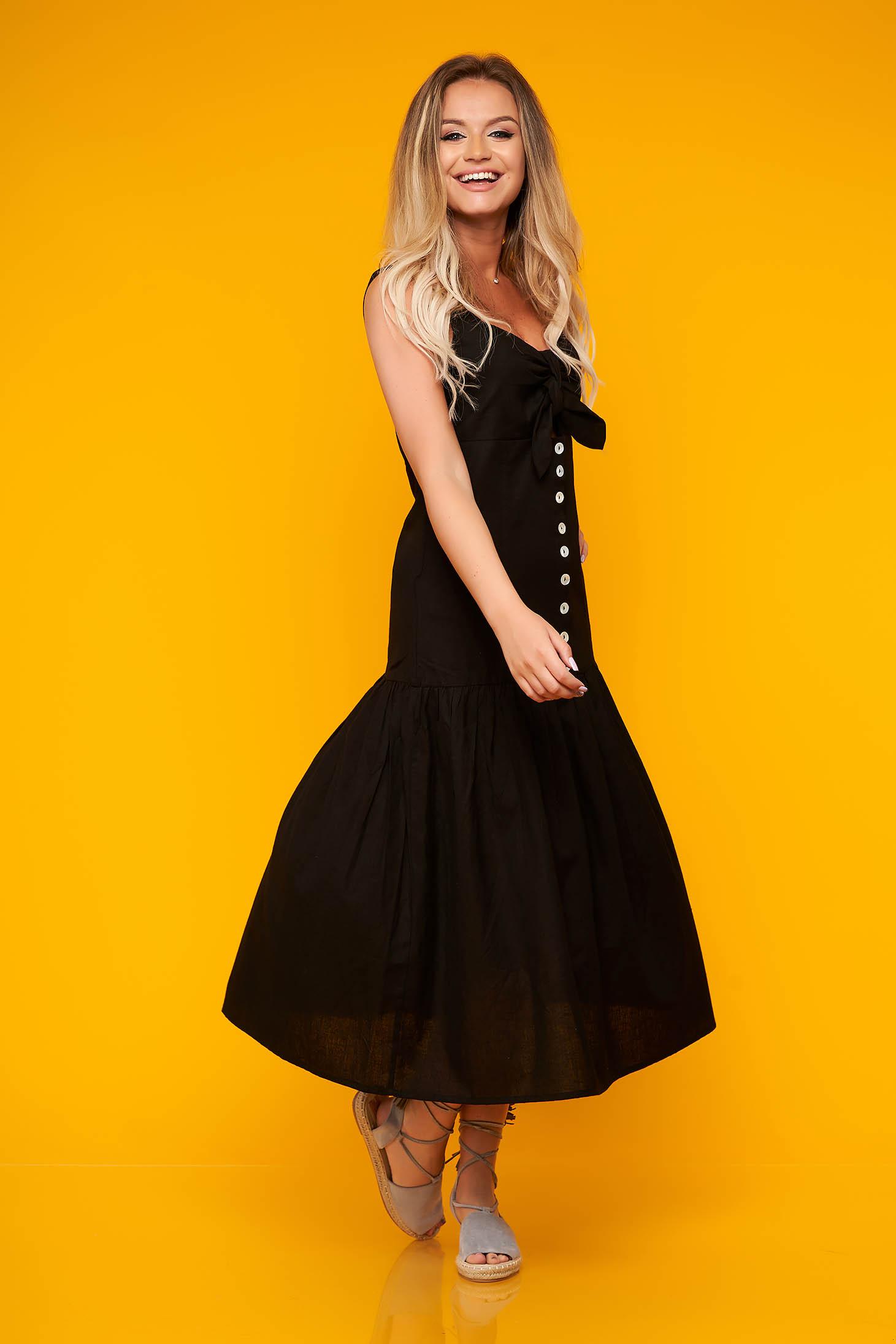 Fekete Top Secret hétköznapi harang ruha nem elasztikus pamut v-dekoltázzsal gomb kiegészítőkkel