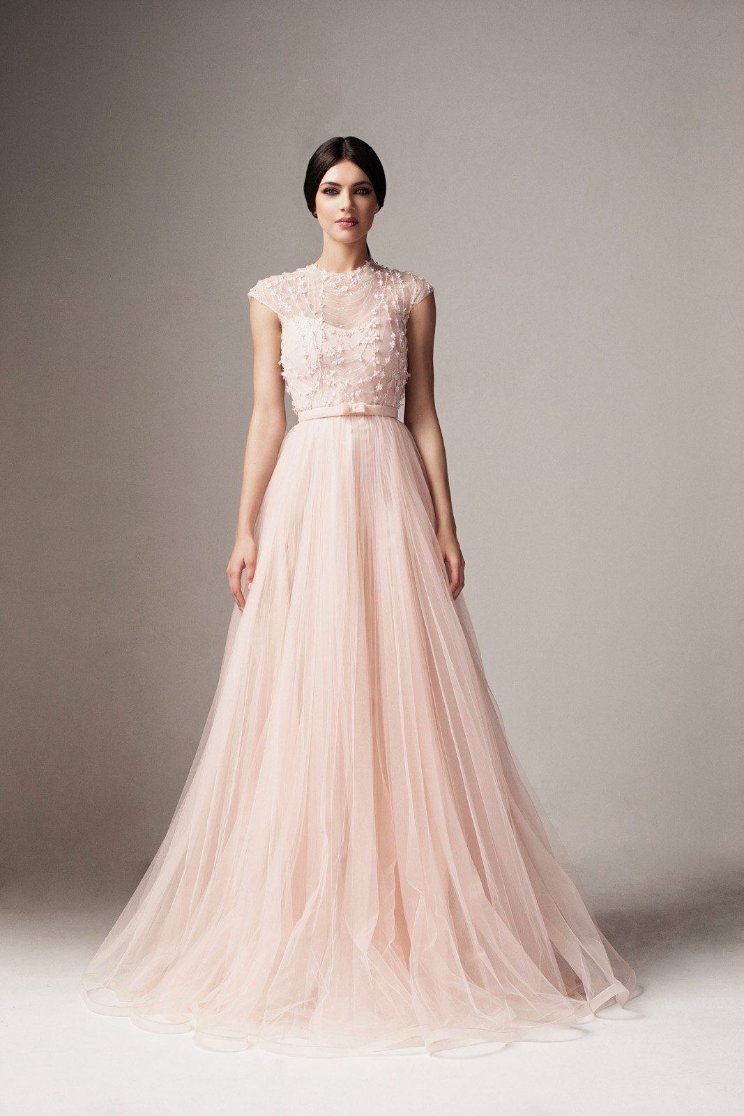 Ana Radu lightpink occasional from tulle cloche dress with floral details accessorized with tied waistband