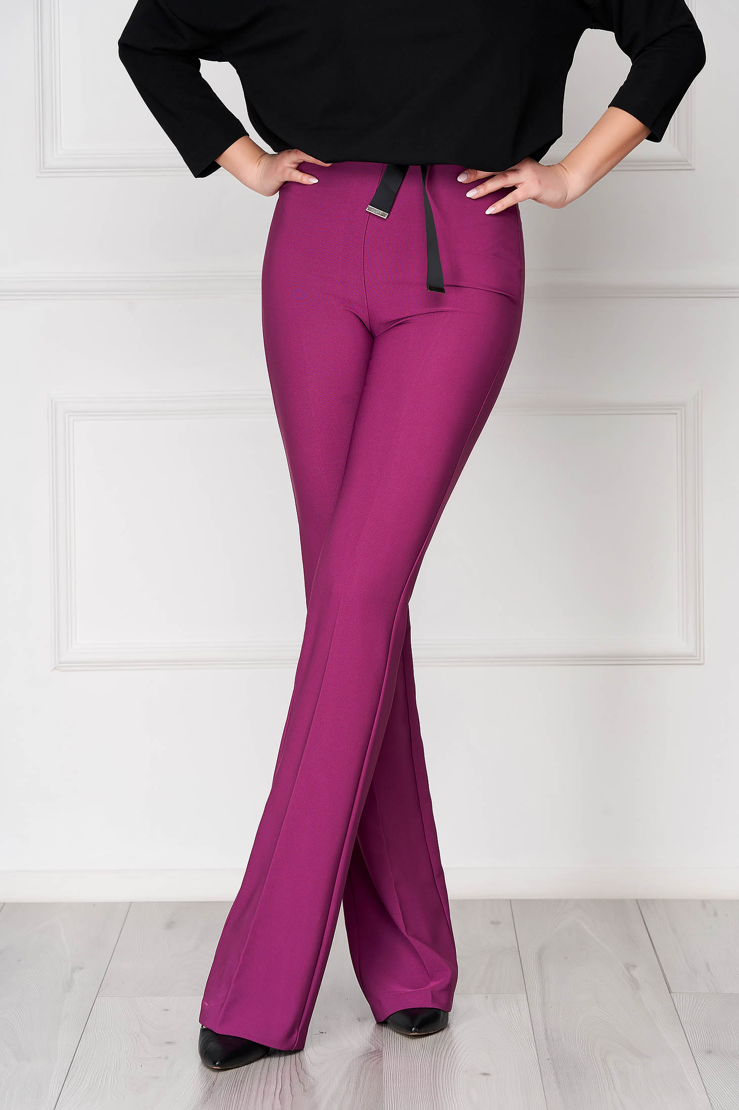 PrettyGirl purple elegant flared trousers high waisted nonelastic fabric