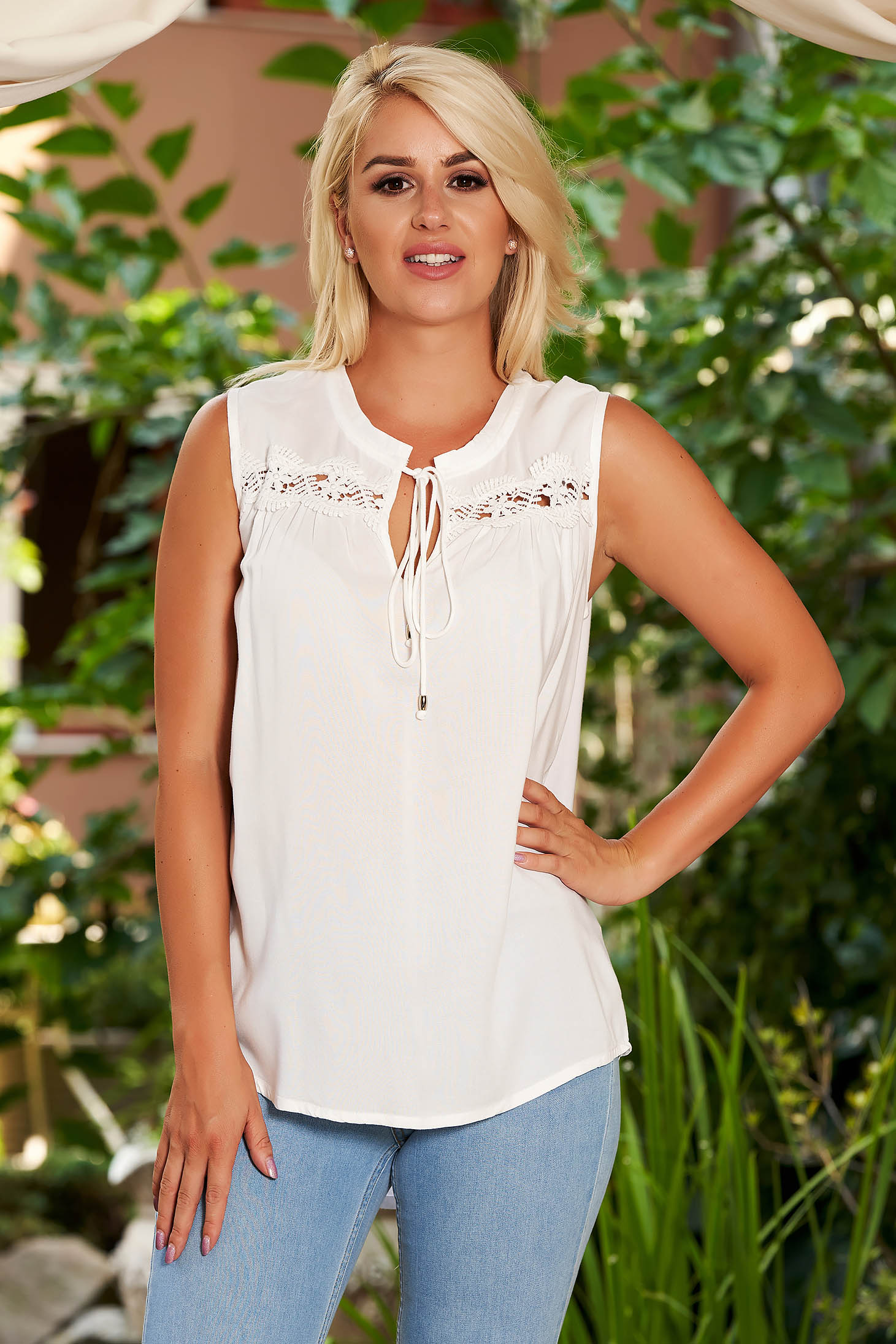 Top Secret white flared women`s blouse slightly transparent fabric with lace details