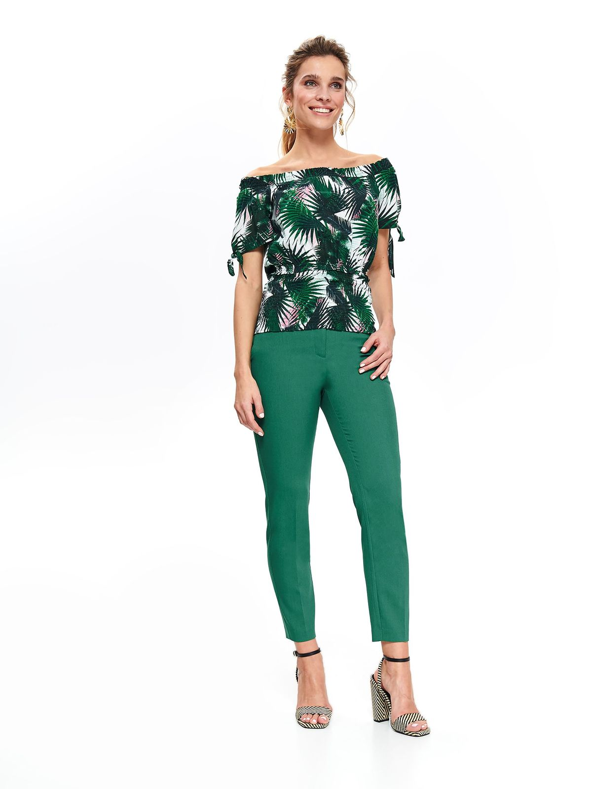 Bluza dama Top Secret verde casual cu croi larg cu umeri goi din material vaporos