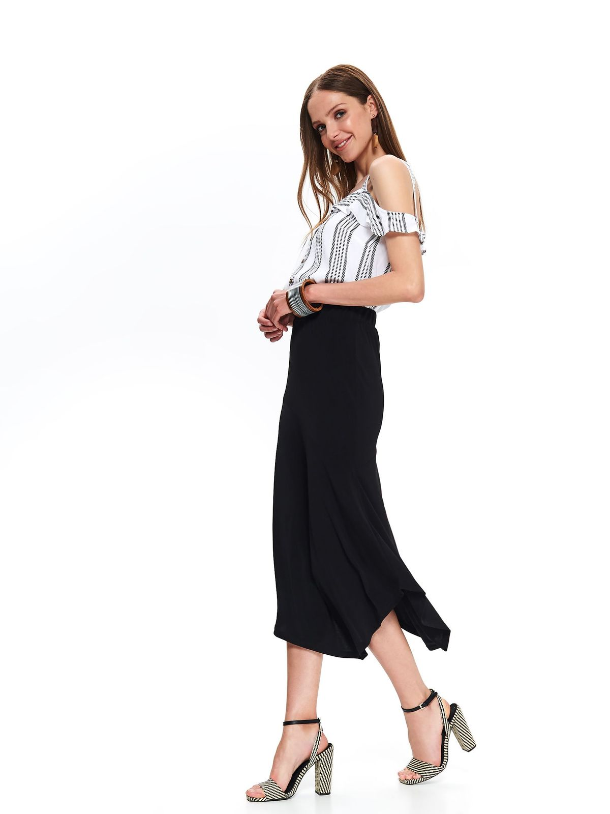 Black skirt casual high waisted asymmetrical midi