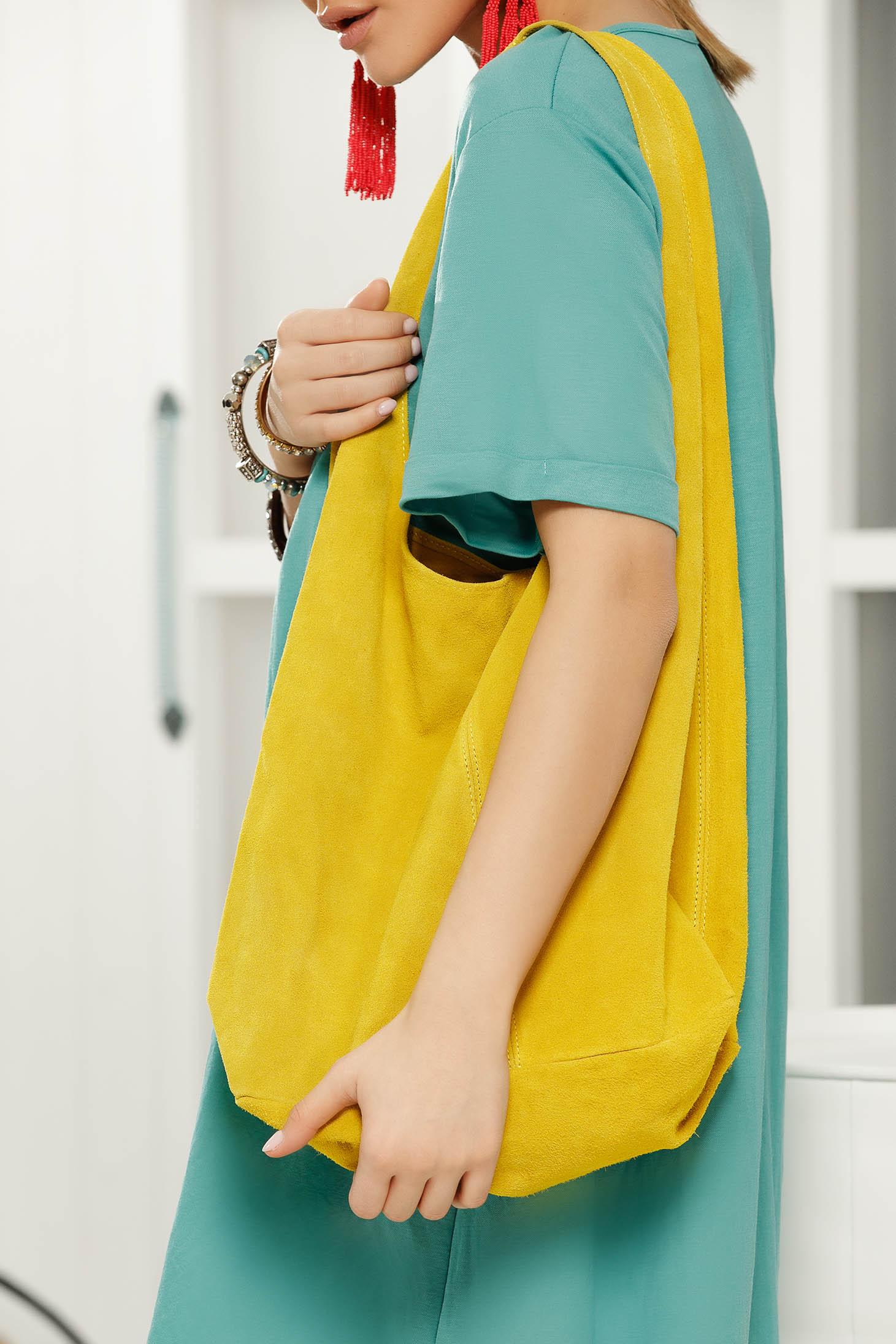 Geanta dama galbena casual cu manere de lungime medie si accesoriu inclus