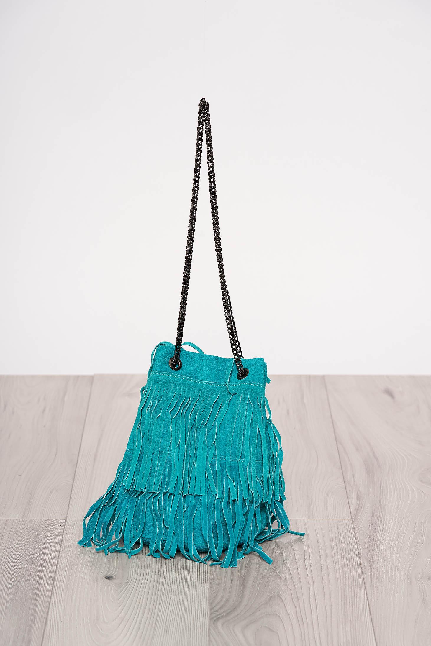 Türkiz rojtos casual táska hosszú, lánc jellegű akasztóval