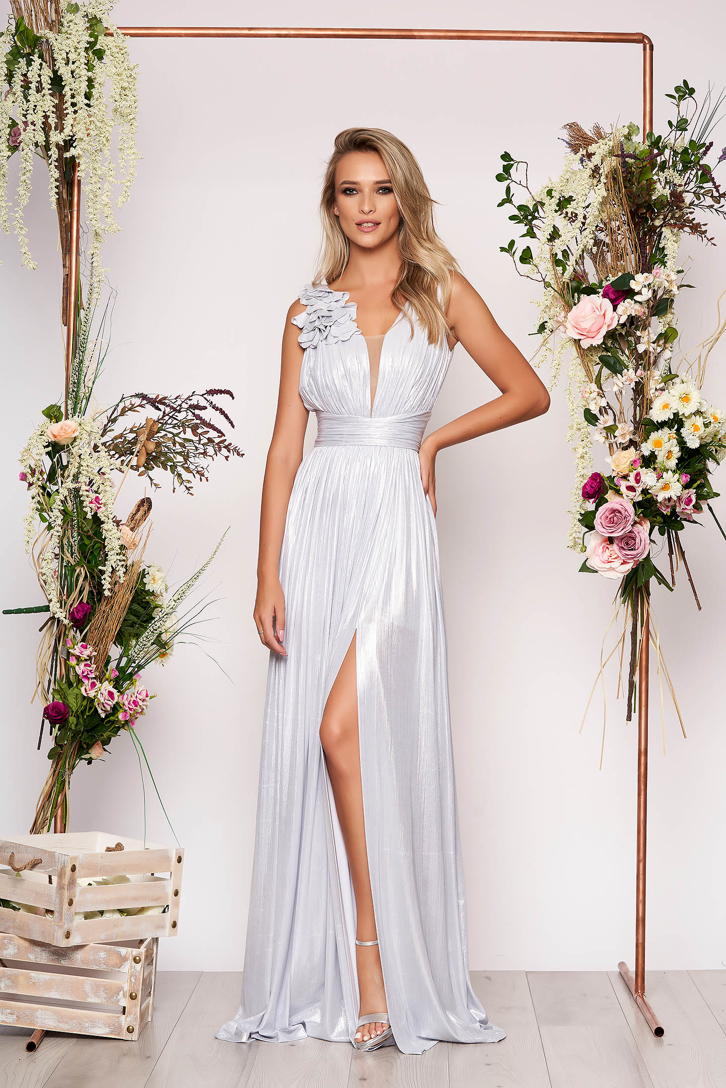 LaDonna silver occasional long cloche dress with deep cleavage from shiny fabric with floral details