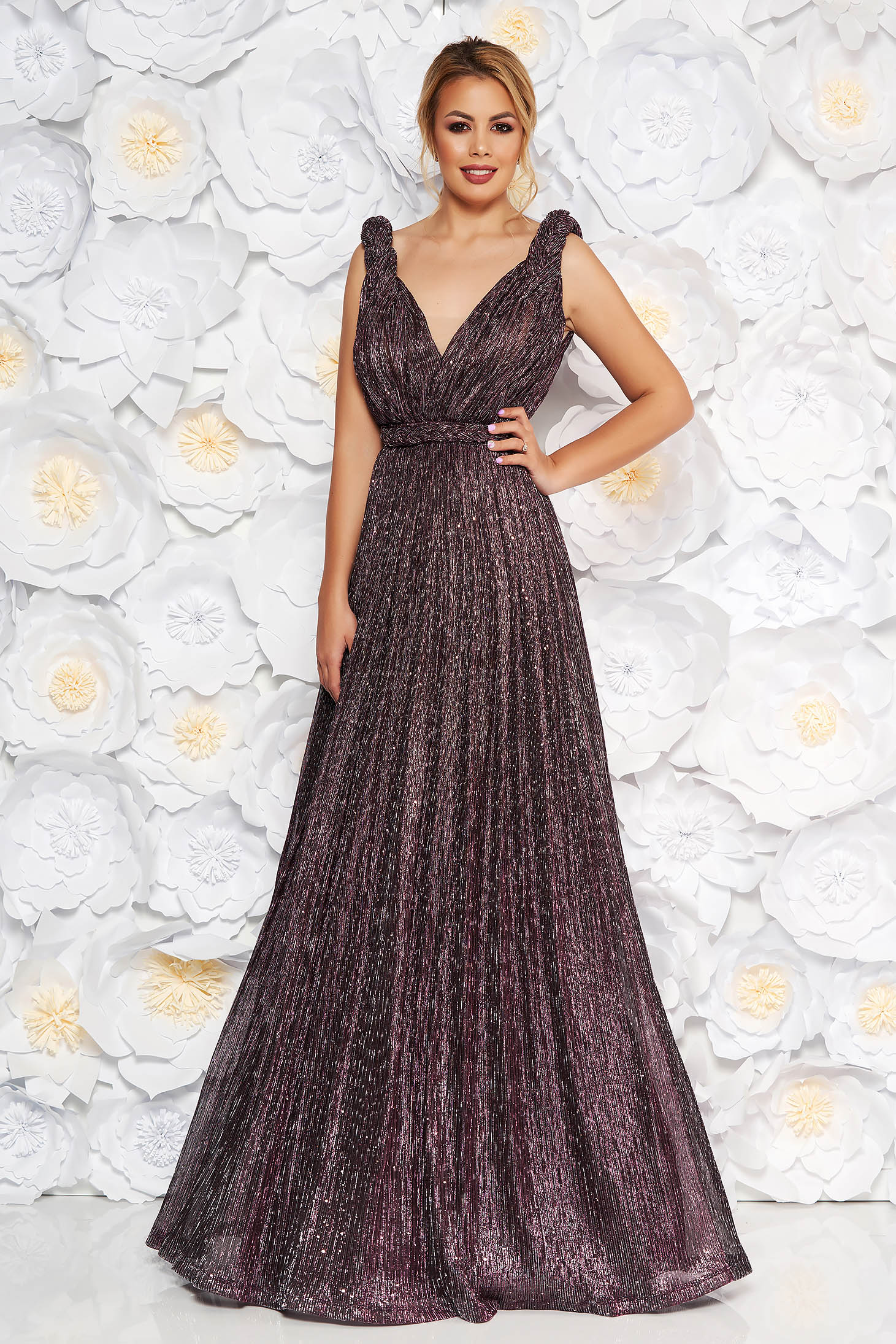 LaDonna purple occasional cloche dress with push-up cups with v-neckline with crystal embellished details