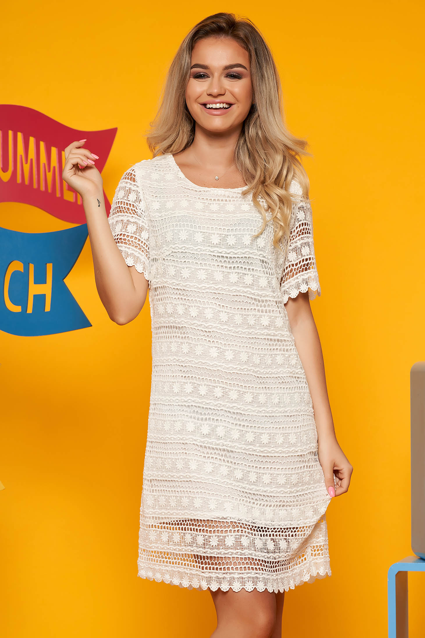 Top Secret white daily a-line dress short sleeve laced with inside lining