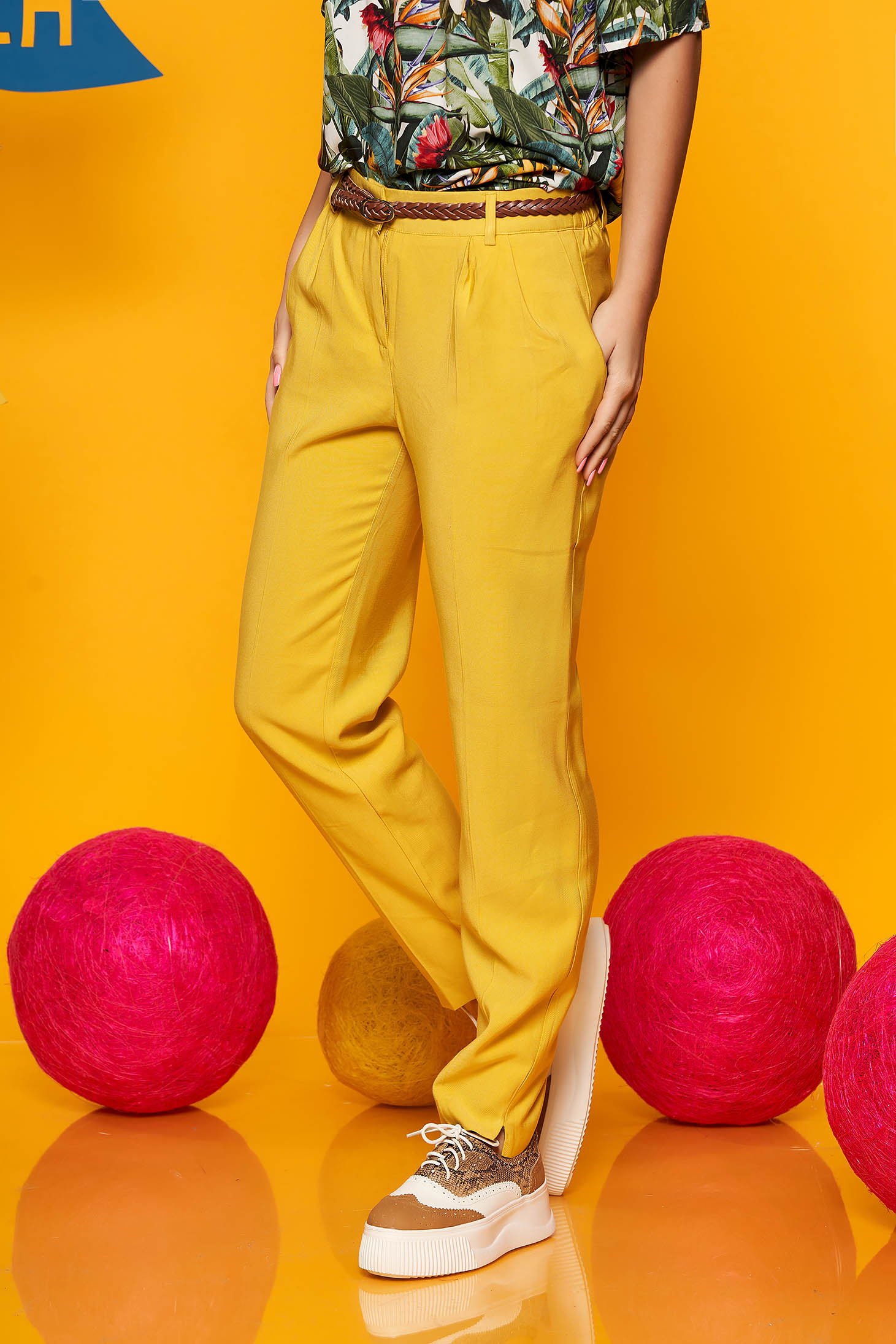 Top Secret yellow conical trousers with medium waist airy fabric accessorized with belt