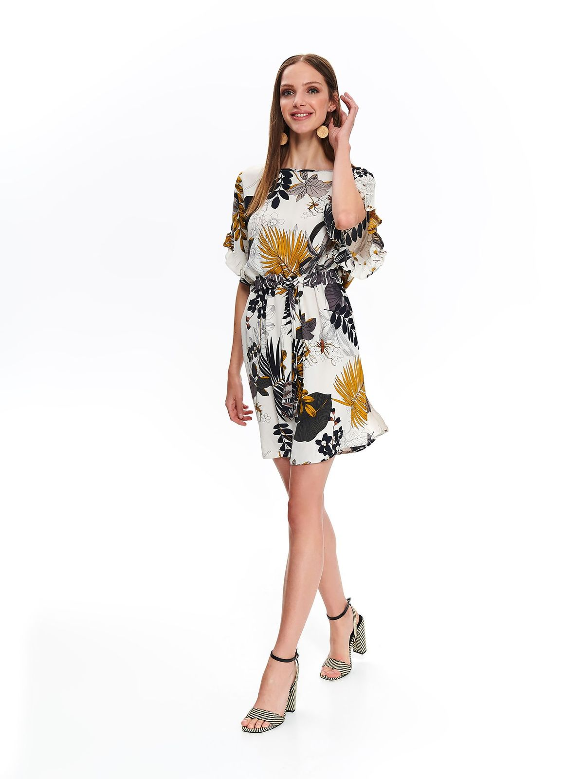 Top Secret peach daily cloche dress short sleeve accessorized with tied waistband