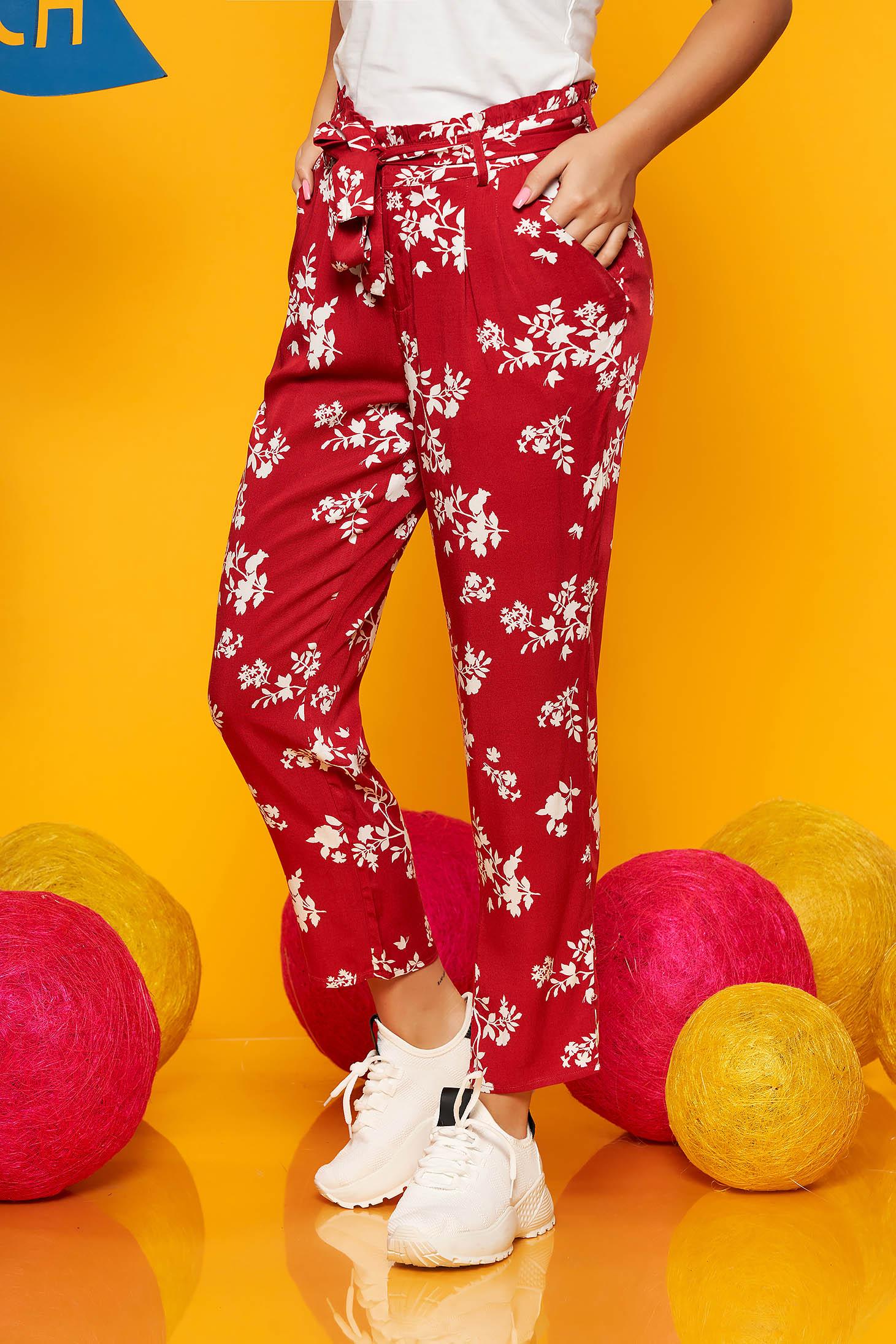 Pantaloni Top Secret rosii casual din material vaporos cu talie medie si buzunare