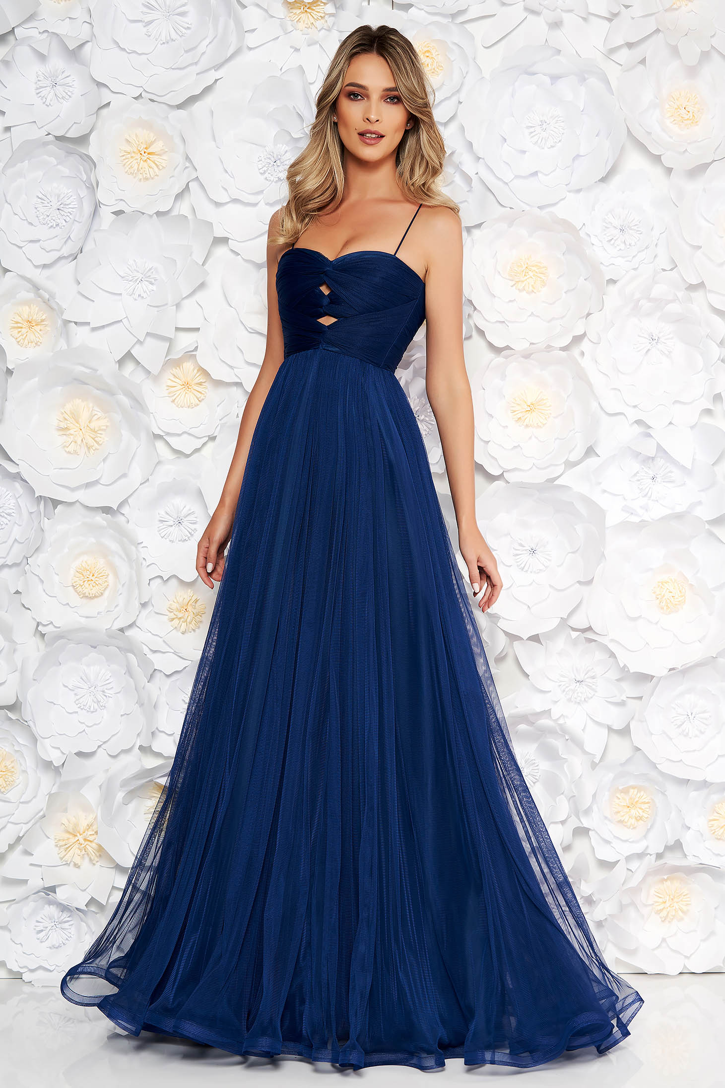 Ana Radu darkblue luxurious dress from tulle with inside lining with push-up cups off shoulder