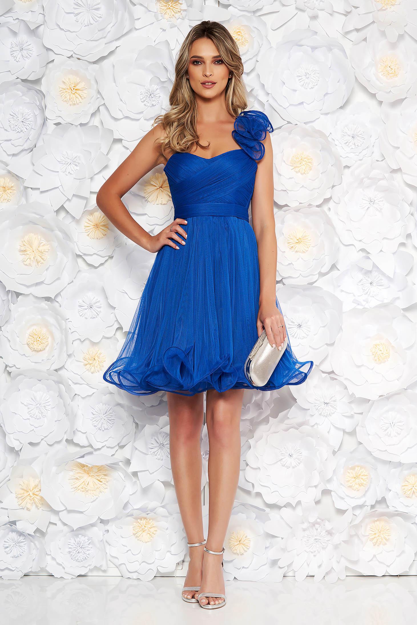 ba01b48a45 Kék Ana Radu alkalmi fűzős tüll harang ruha szivacsos mellrésszel és övvel  ellátva